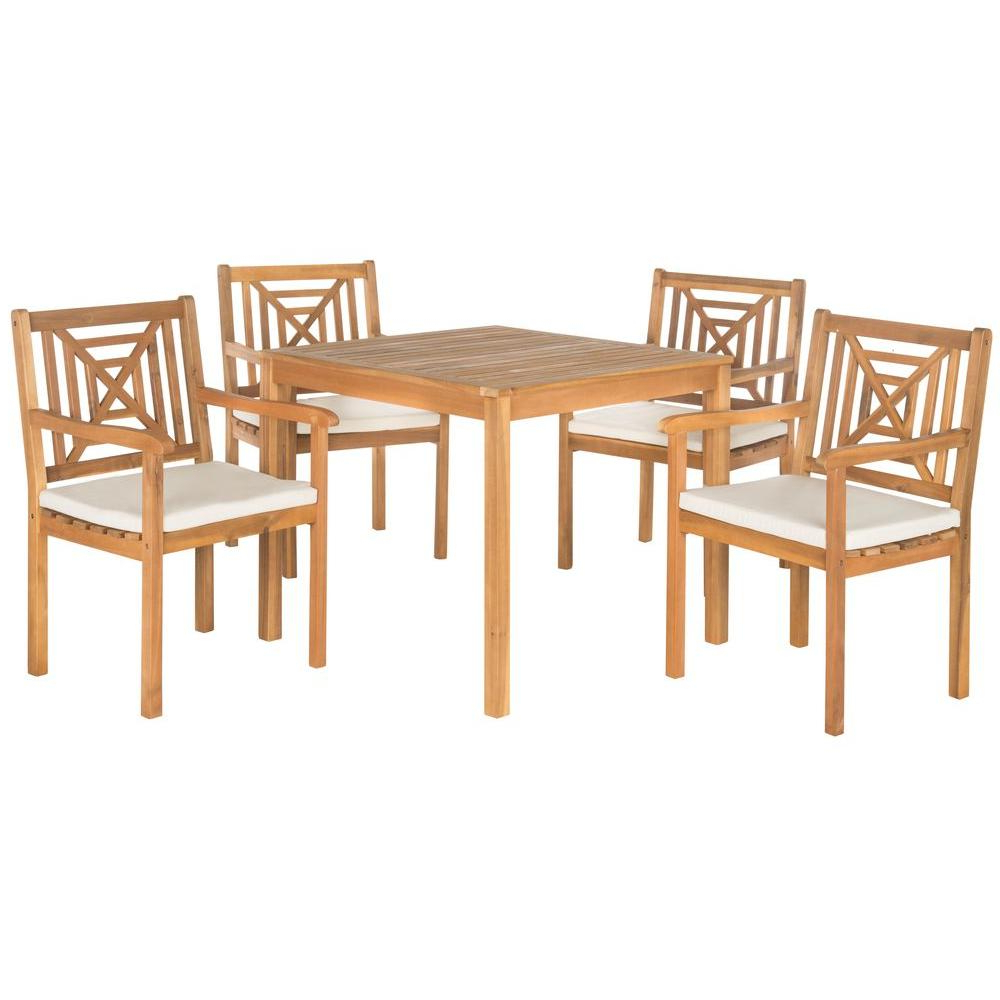 2017 Safavieh Del Mar Teak Brown 5 Piece Patio Dining Set With Beige Cushions With Regard To Delmar 5 Piece Dining Sets (View 8 of 20)
