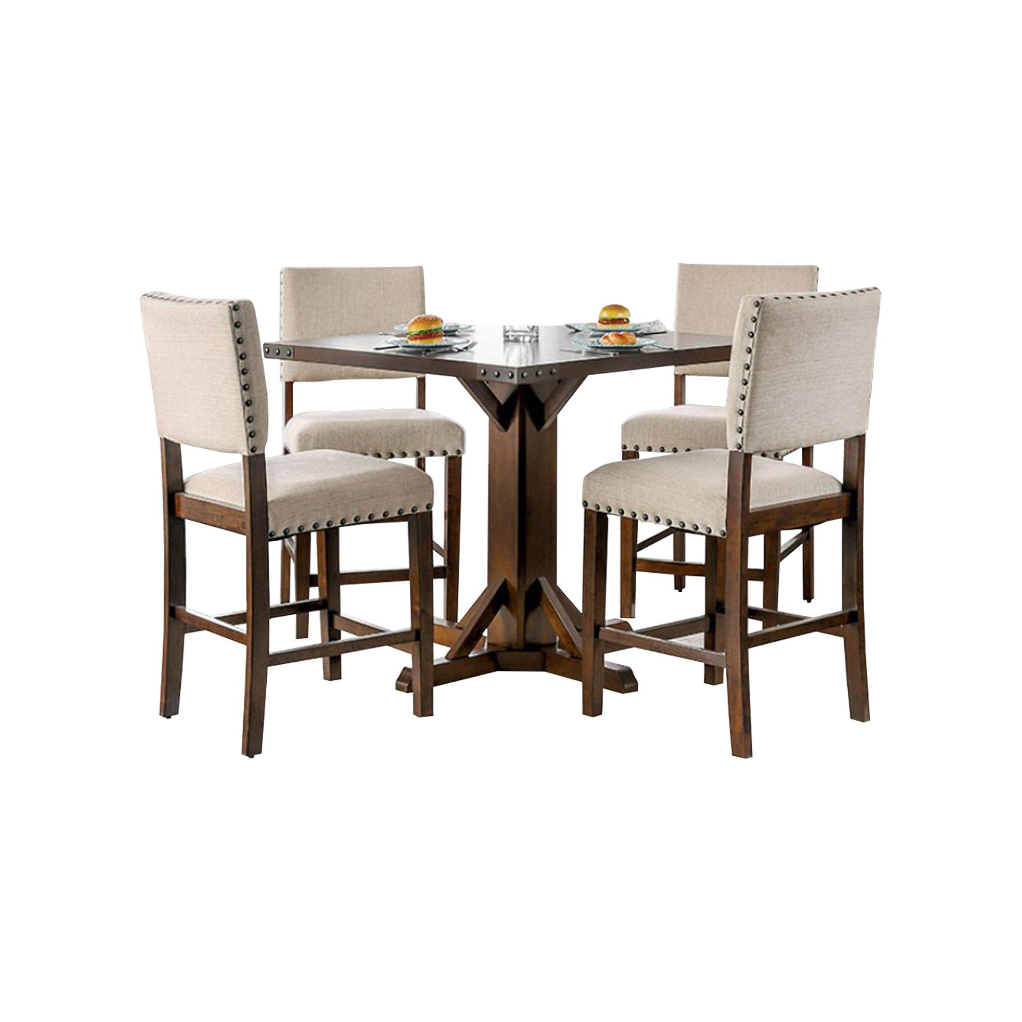 2017 Tarleton 5 Piece Dining Sets Intended For Burkitt Counter Height Solid Wood Dining Table (View 12 of 20)