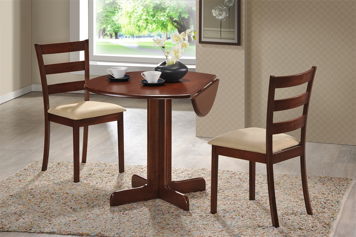 "2018 3 Piece Dining Set. 36"" Drop Leaf Table With Two Chairs All Cherry Finish For 3 Piece Dining Sets (Gallery 14 of 20)"