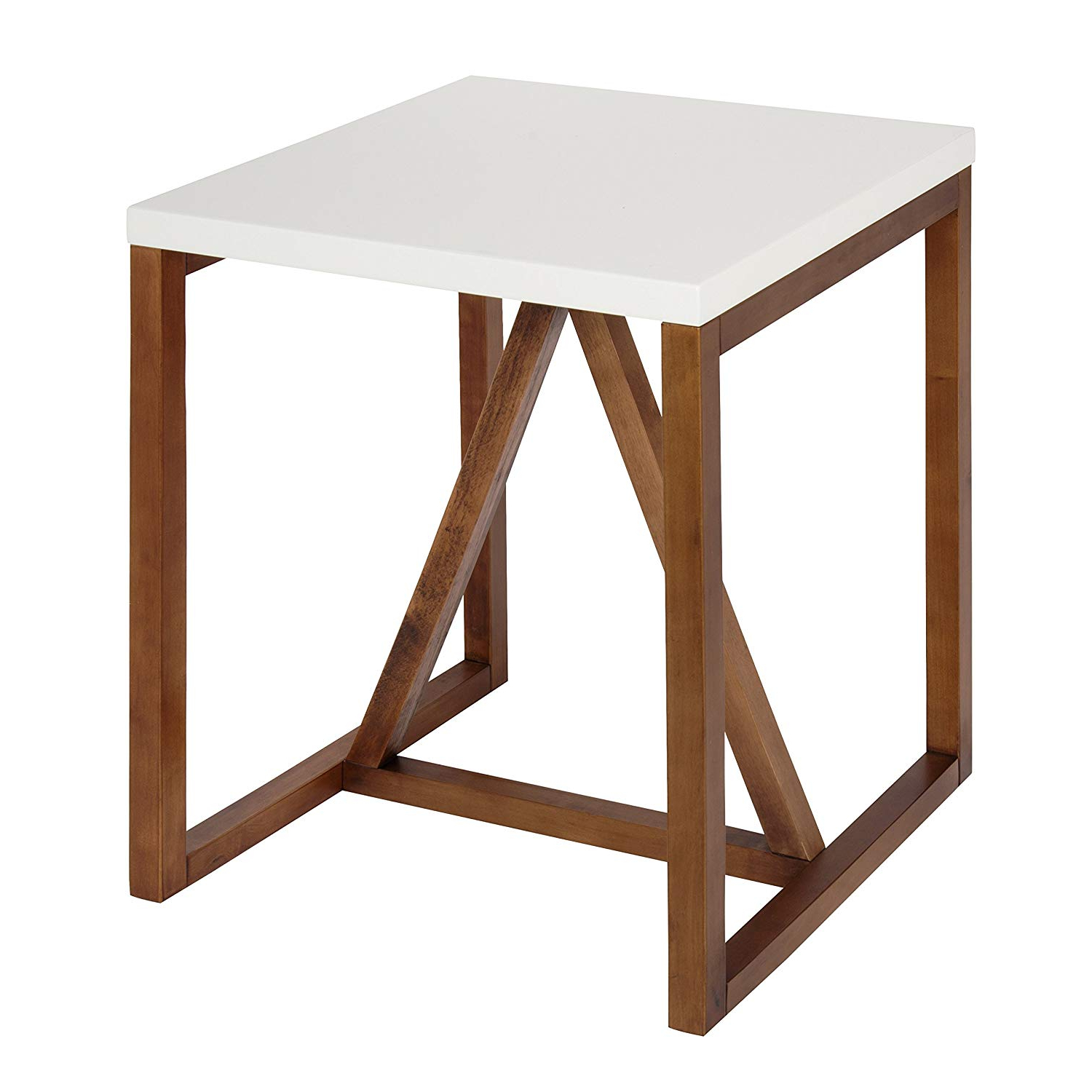 2018 Kate And Laurel Kaya Square Wood Side Table, White Top With Walnut Brown  Base Inside Kaya 3 Piece Dining Sets (View 3 of 20)