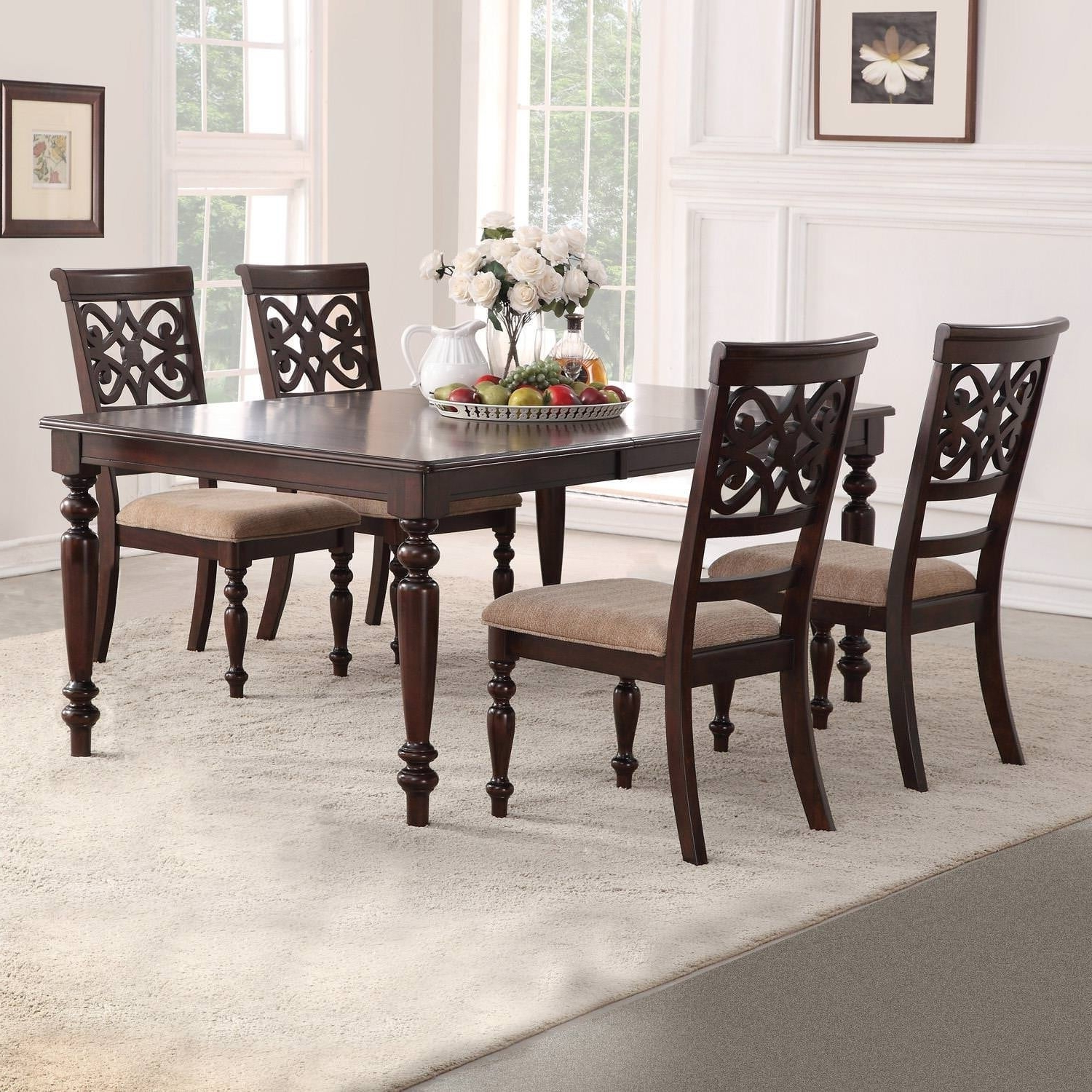 2018 Laconia 7 Pieces Solid Wood Dining Sets (set Of 7) With Home Source Laconia Walnut 5 Piece Dining Set (Gallery 7 of 20)