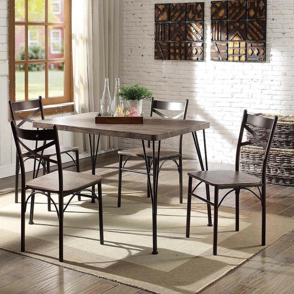 2018 Marquez Transitional 5 Piece Solid Wood Dining Set Inside Autberry 5 Piece Dining Sets (Gallery 5 of 20)