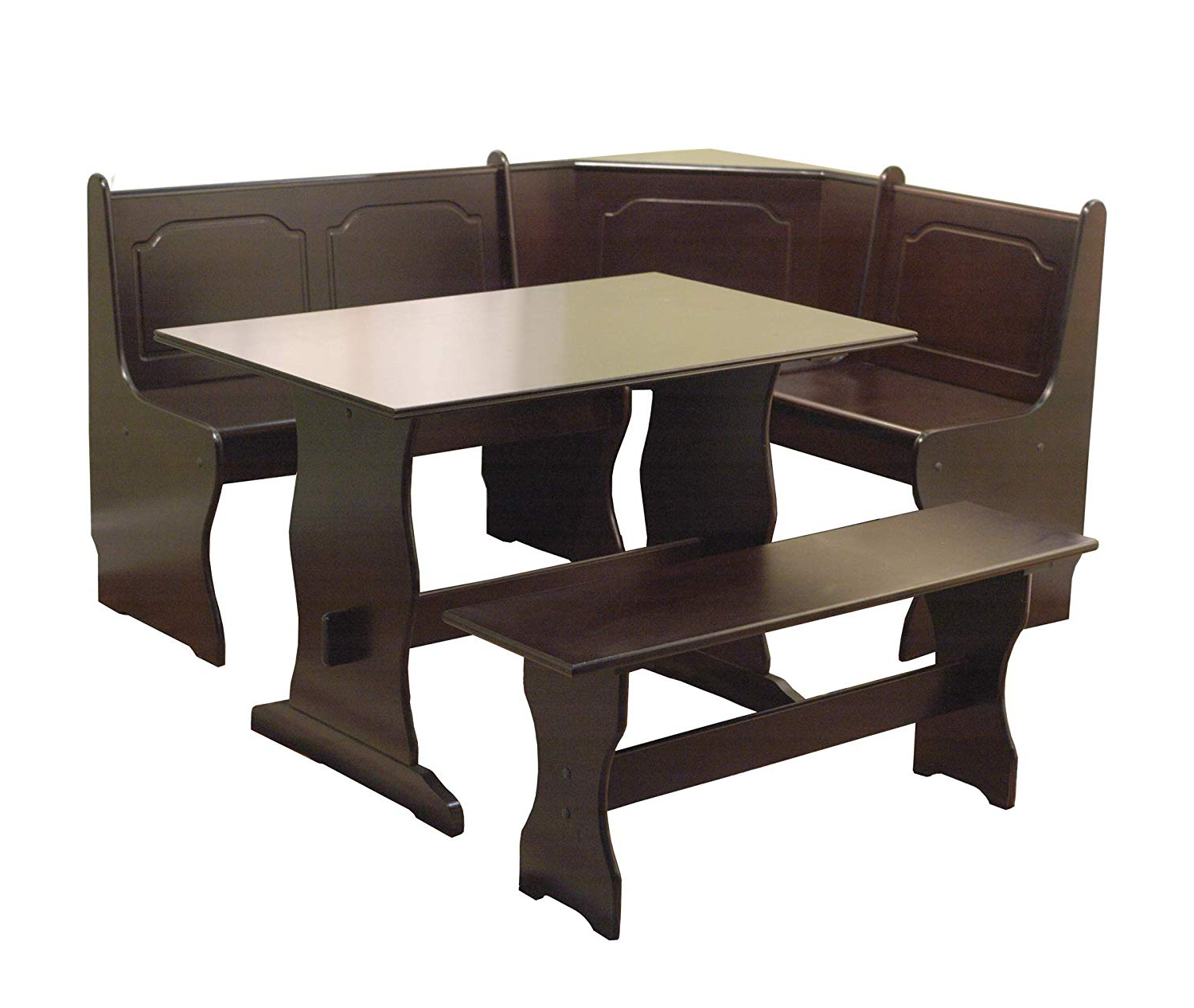 3 Piece Breakfast Nook Dinning Set Intended For Fashionable Target Marketing Systems 3 Piece Breakfast Nook Dining Set With A L Shaped Storage Bench And A Trestle Style Dining Table And Bench, Espresso (View 9 of 20)