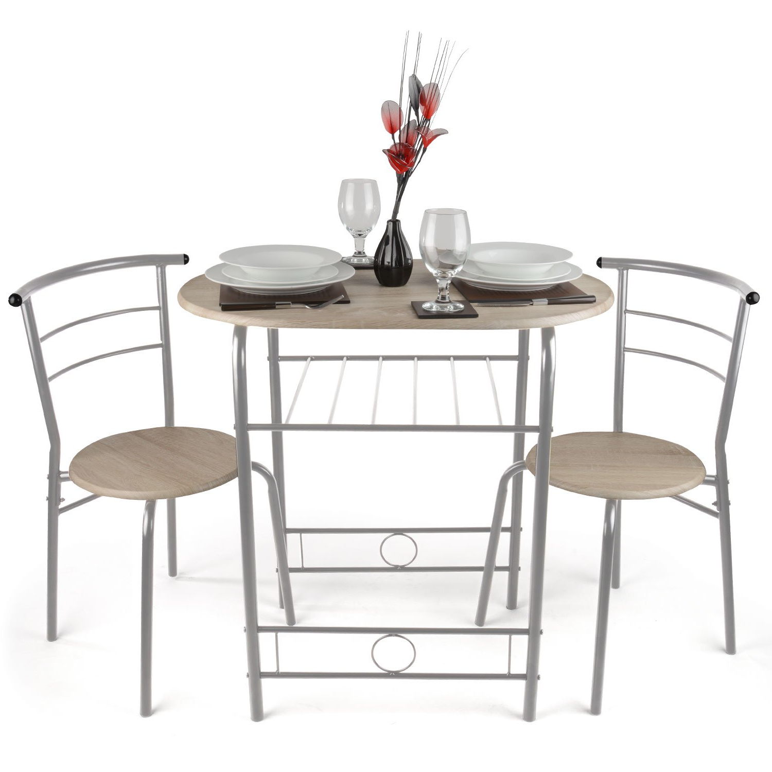3 Piece Dining Set Breakfast Bar Kitchen Table Chairs 3 Kitchen For Famous 3 Piece Breakfast Dining Sets (View 8 of 20)