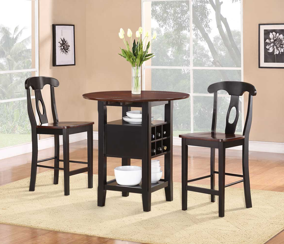 3 Piece Dining Sets Regarding Best And Newest Homelegance Atwood 3 Piece Counter Height Dining Set (View 11 of 20)