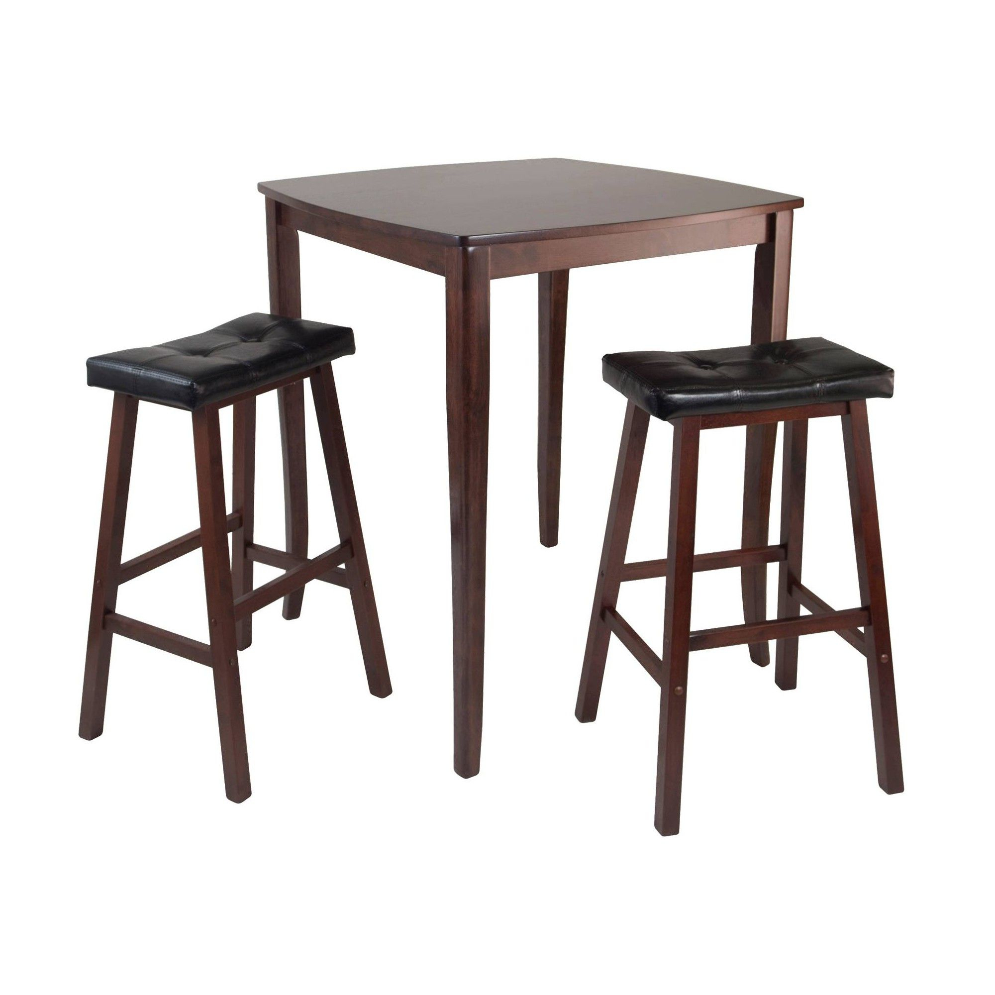 3 Piece Inglewood Set High Table With Cushion Seat Bar Stools Wood Within Most Recent Bettencourt 3 Piece Counter Height Solid Wood Dining Sets (View 1 of 20)