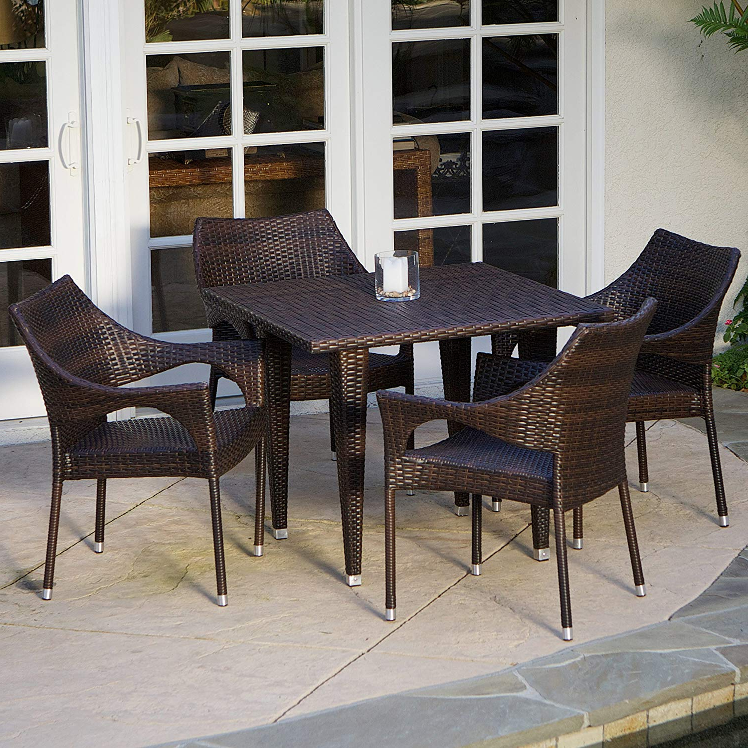 5 Piece Outdoor Wicker Dining Set With Stacking Chairs (View 12 of 20)