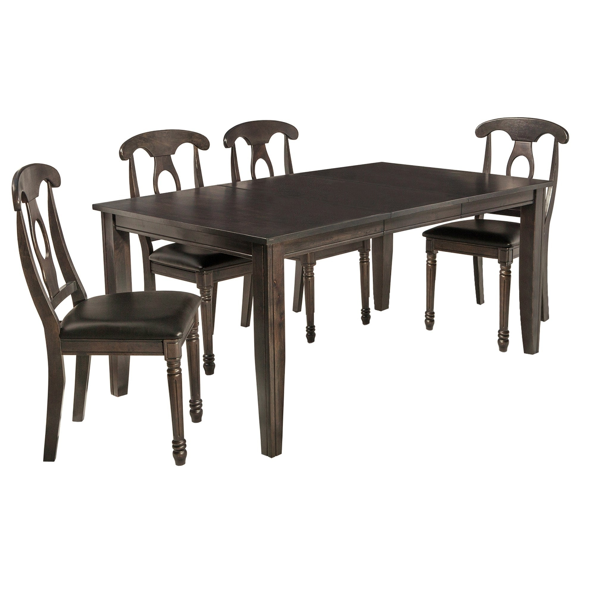 "5 Piece Solid Wood Dining Set ""aden"", Modern Kitchen Table Set, Dark Gray Throughout Latest Adan 5 Piece Solid Wood Dining Sets (Set Of 5) (Gallery 5 of 20)"