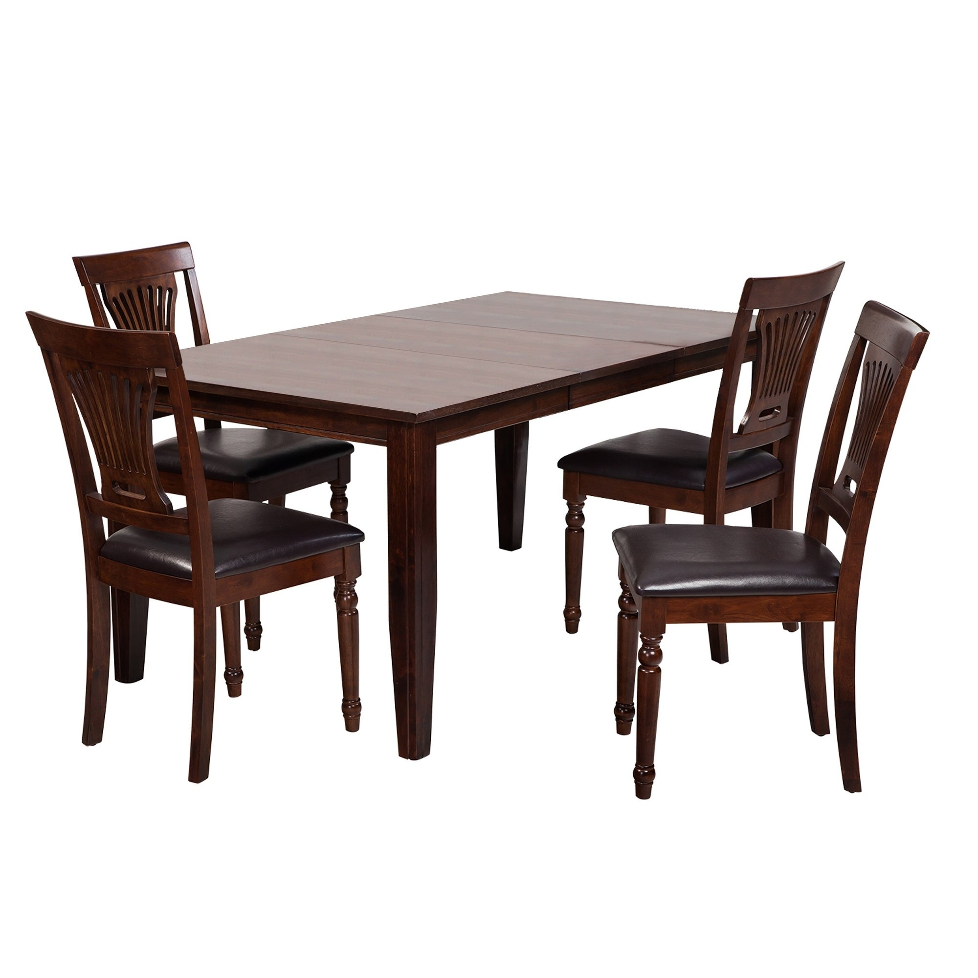 "5 Piece Solid Wood Dining Set ""aden"", Modern Kitchen Table Set, Espresso Regarding Preferred Adan 5 Piece Solid Wood Dining Sets (Set Of 5) (Gallery 1 of 20)"