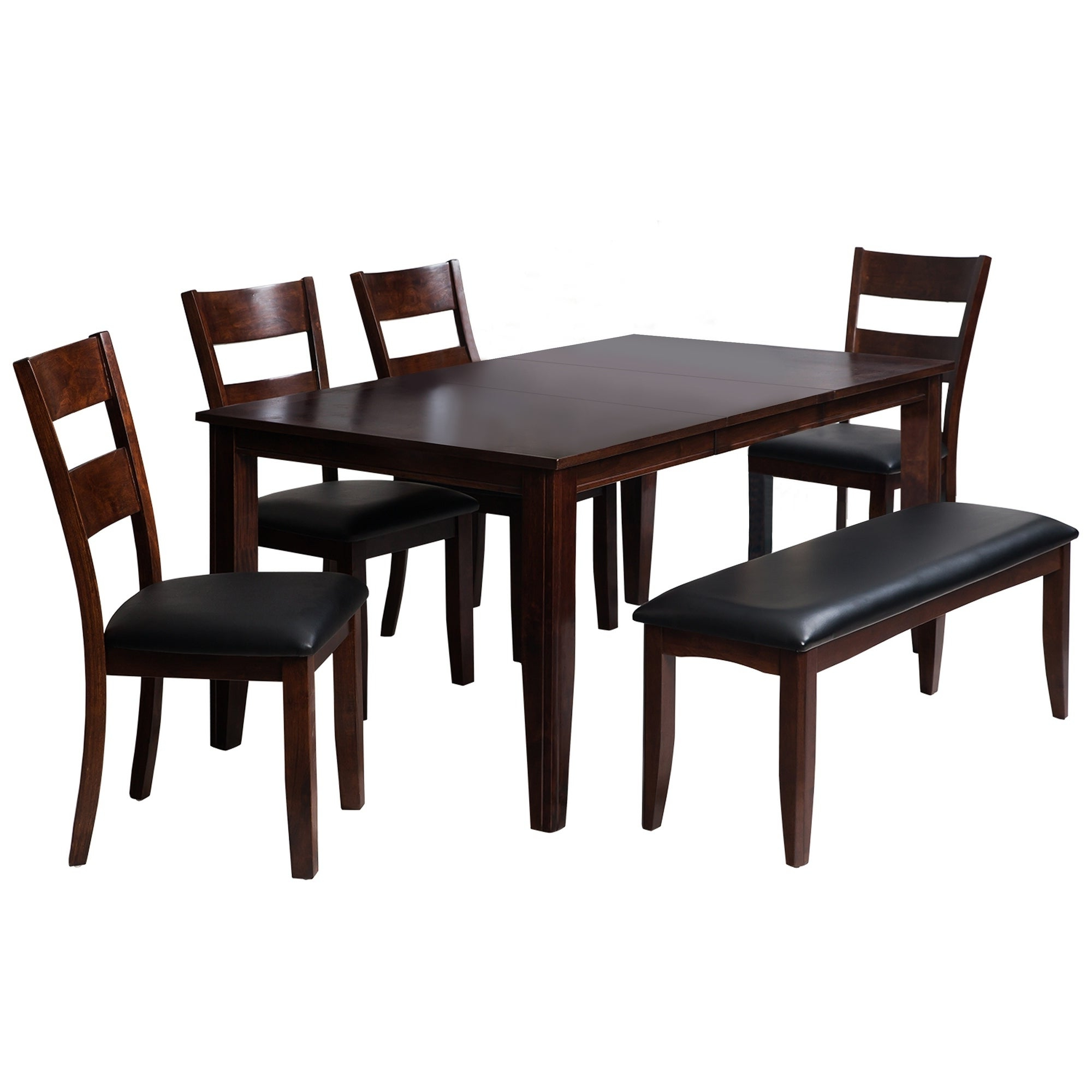 "6 Piece Solid Wood Dining Set ""aden"", Modern Kitchen Table Set, Espresso With Most Popular Adan 5 Piece Solid Wood Dining Sets (Set Of 5) (View 4 of 20)"