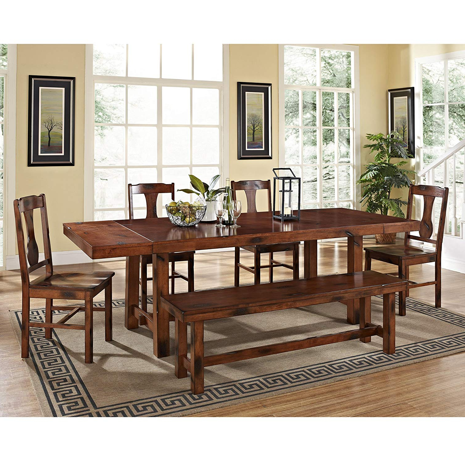 6 Piece Solid Wood Dining Set, Dark Oak With Regard To Fashionable West Hill Family Table 3 Piece Dining Sets (View 6 of 20)