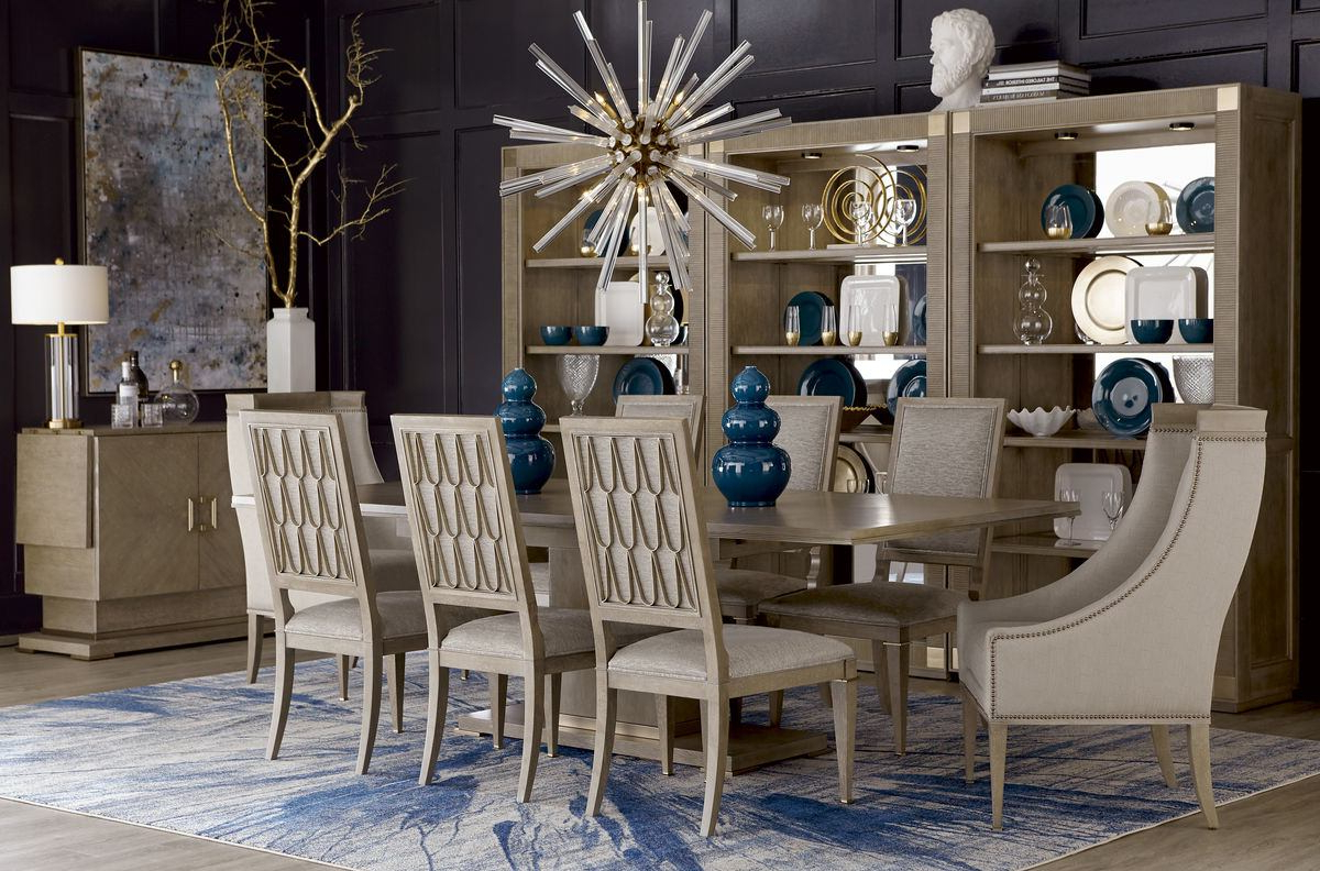 A.r.t. Cityscapes 9pc Bedford Rectangular Dining Room Set In Stone Regarding Widely Used Bedfo 3 Piece Dining Sets (Gallery 3 of 20)
