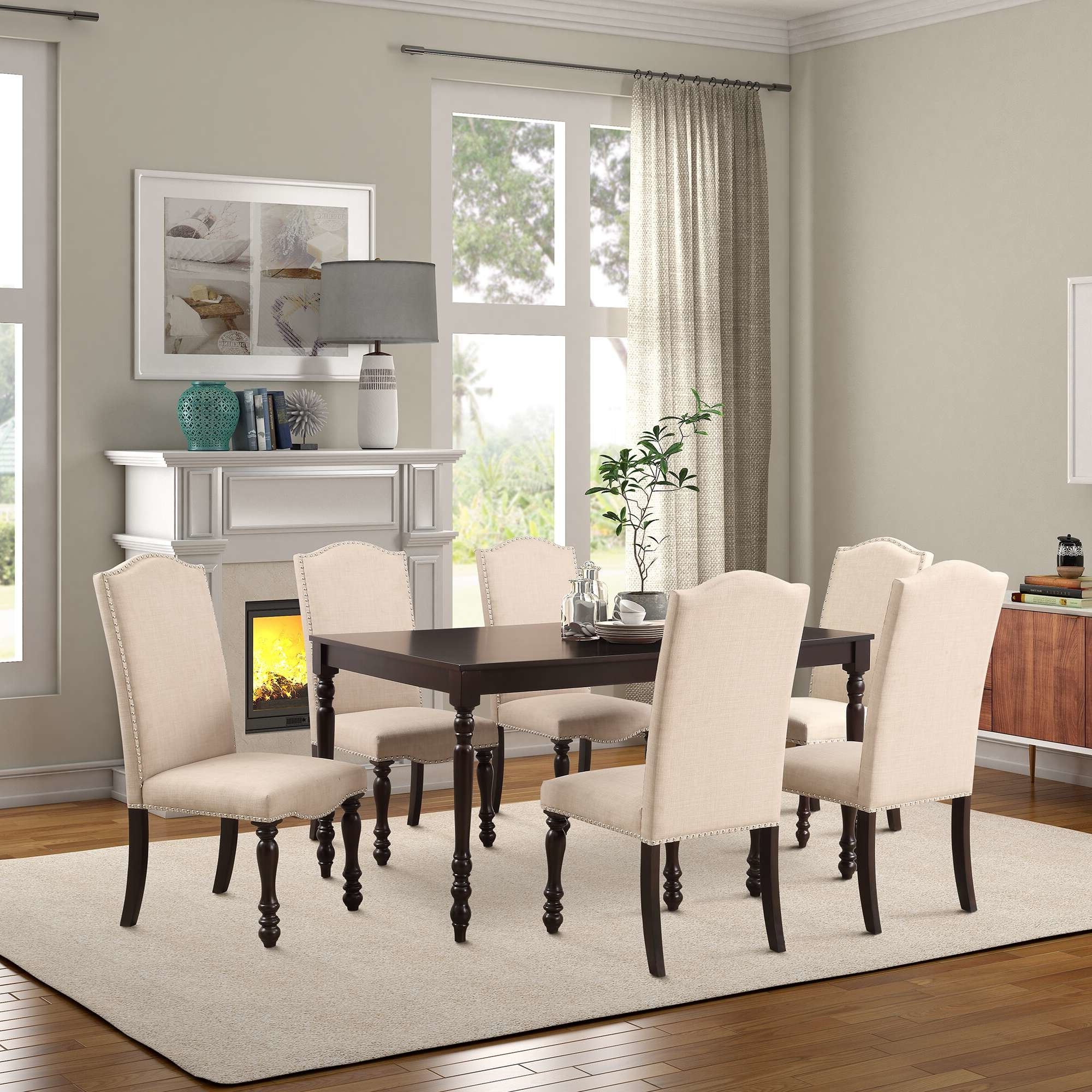 Abarca 7 Piece Solid Wood Dining Set Regarding Newest Laconia 7 Pieces Solid Wood Dining Sets (set Of 7) (View 3 of 20)
