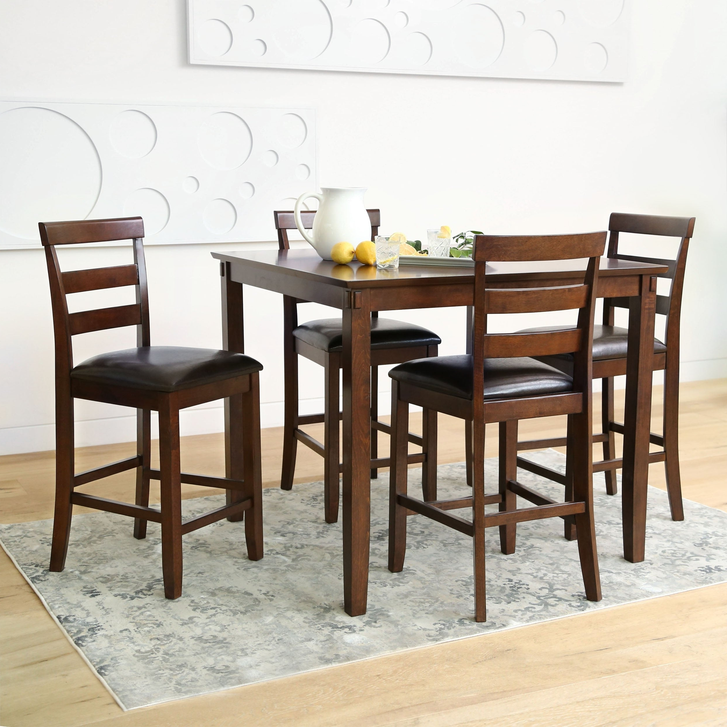 Abbyson Damian Counter Height 5 Piece Dining Set For Popular Bettencourt 3 Piece Counter Height Dining Sets (Gallery 17 of 20)