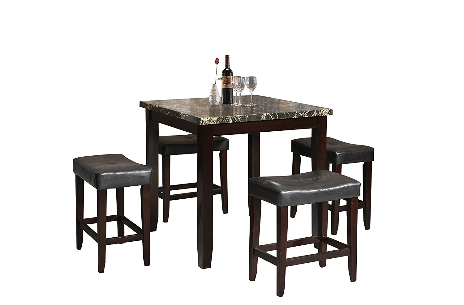 Acme Ainsley Counter Height Set (5 Pack) Throughout Popular Biggs 5 Piece Counter Height Solid Wood Dining Sets (Set Of 5) (View 3 of 20)
