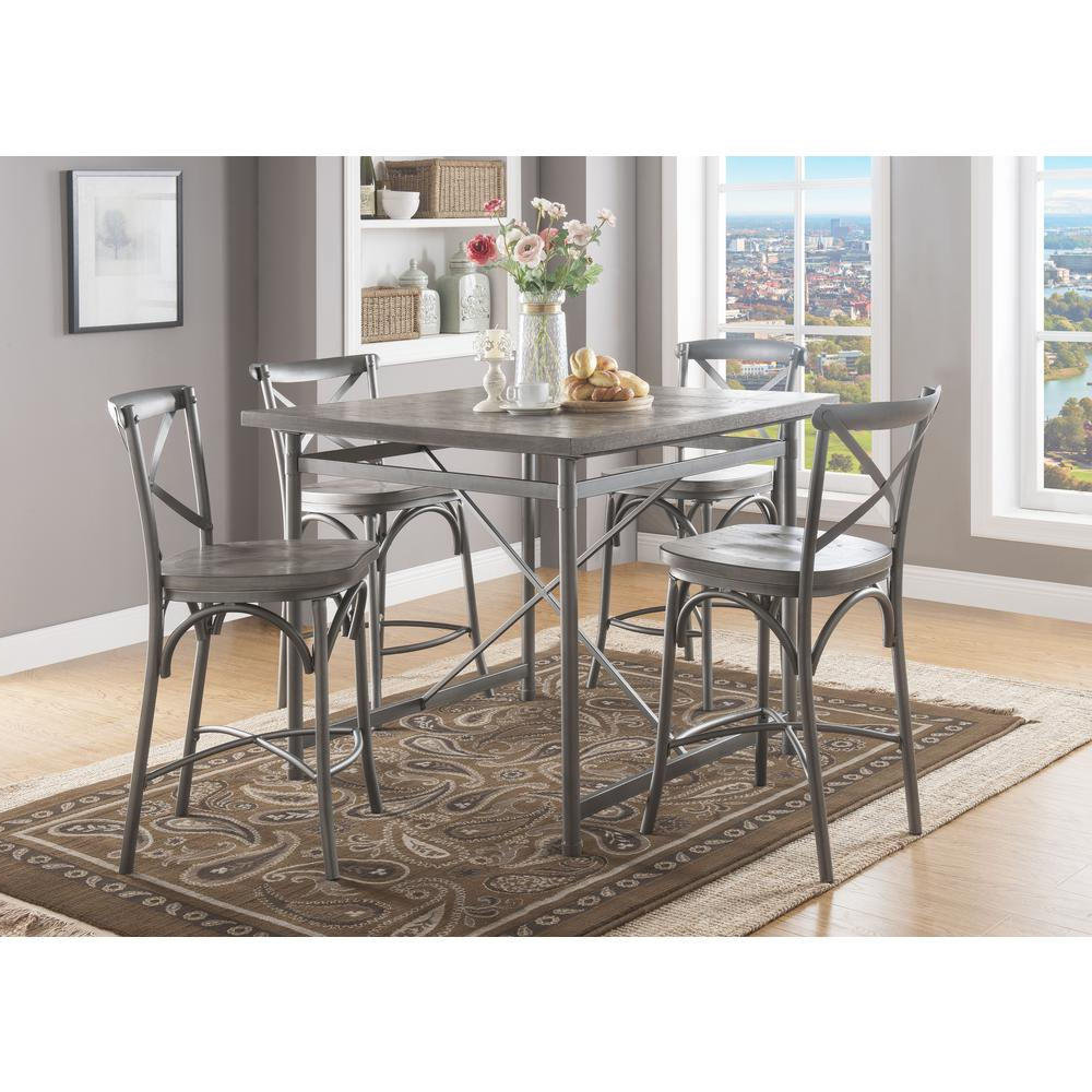 Acme Furniture Kaelyn Ii Gray Oak And Sandy Gray Counter Height Pertaining To Most Up To Date Kaelin 5 Piece Dining Sets (View 2 of 20)