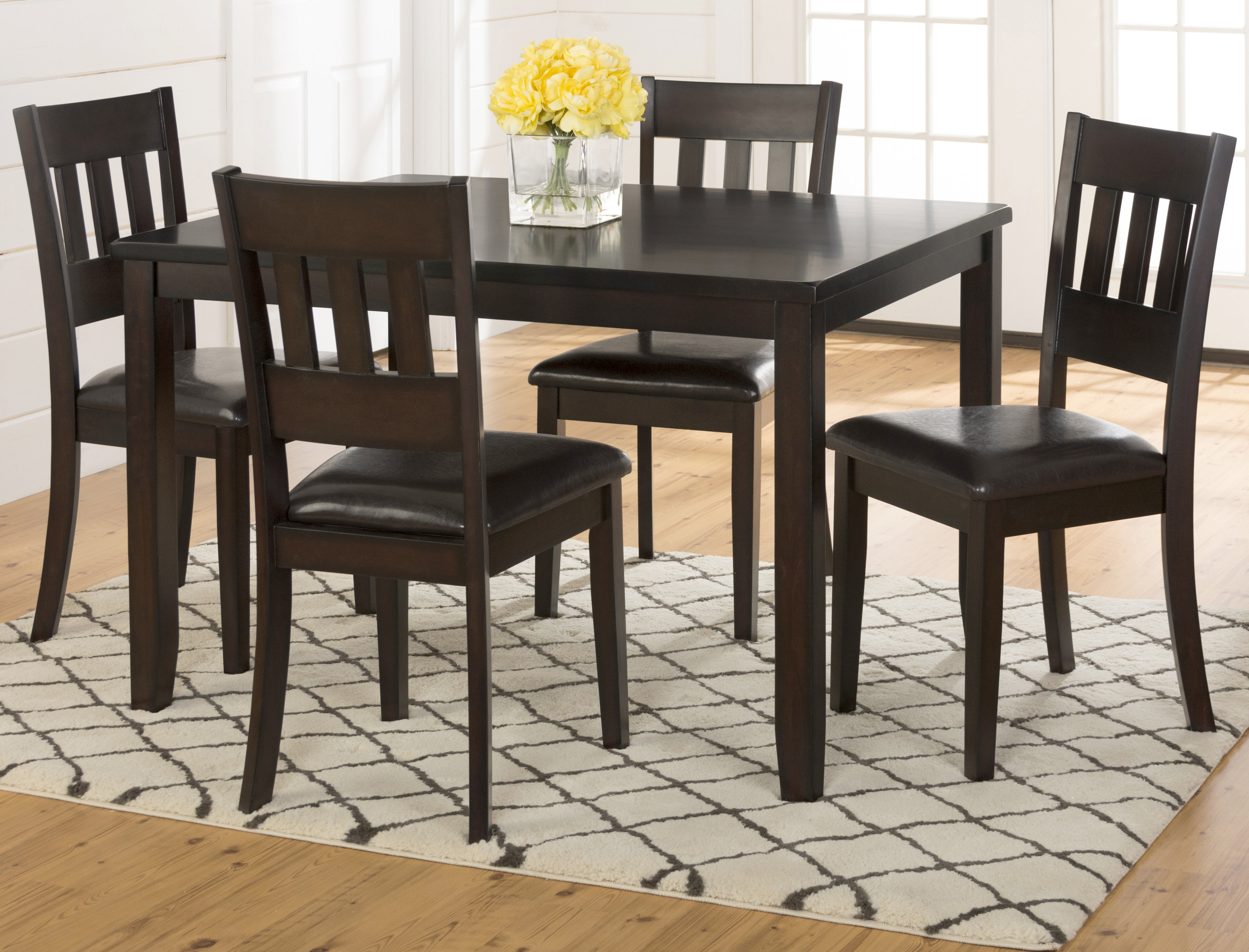 Adan 5 Piece Solid Wood Dining Set Inside Preferred Adan 5 Piece Solid Wood Dining Sets (set Of 5) (Gallery 7 of 20)