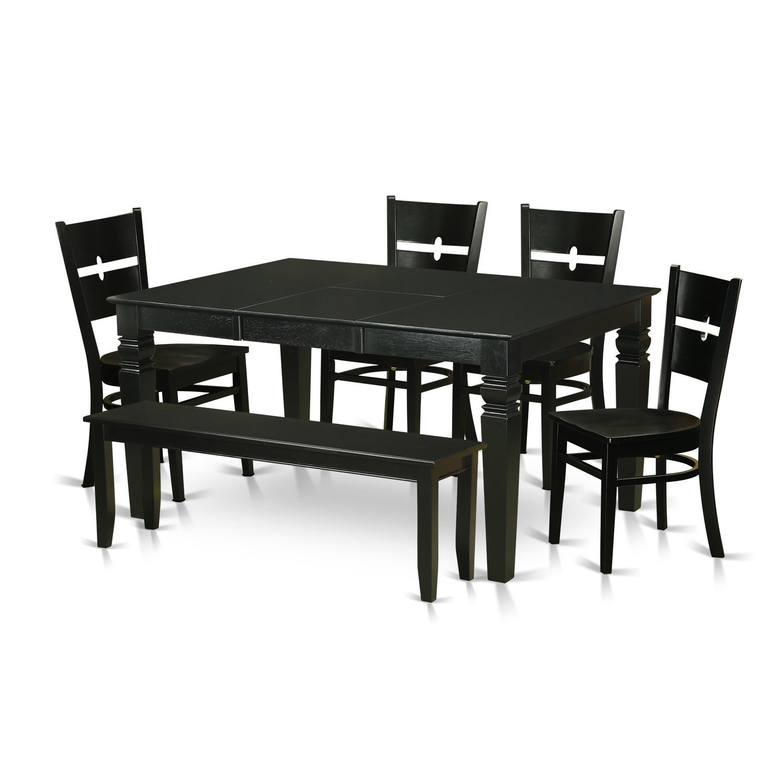 Adan 5 Piece Solid Wood Dining Sets (Set Of 5) Pertaining To Most Recently Released Traditional Black Finish Solid Rubberwood 6 Piece Dining Set With Weston  Table, Four Rockville Chairs And One Bench (View 7 of 20)
