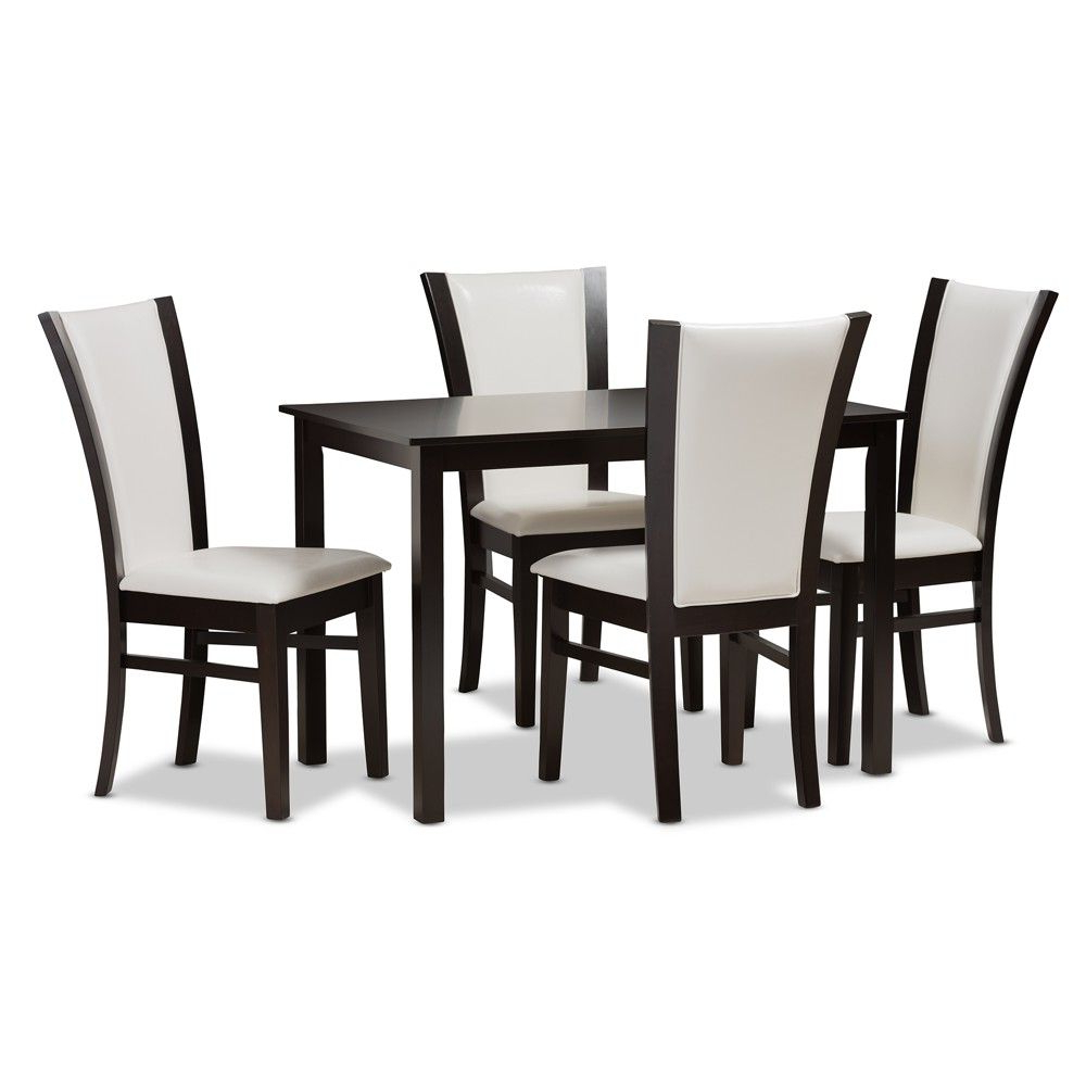 Adley Modern And Contemporary 5pc Finished Faux Leather Dining Set In 2018 Evellen 5 Piece Solid Wood Dining Sets (set Of 5) (Gallery 10 of 20)