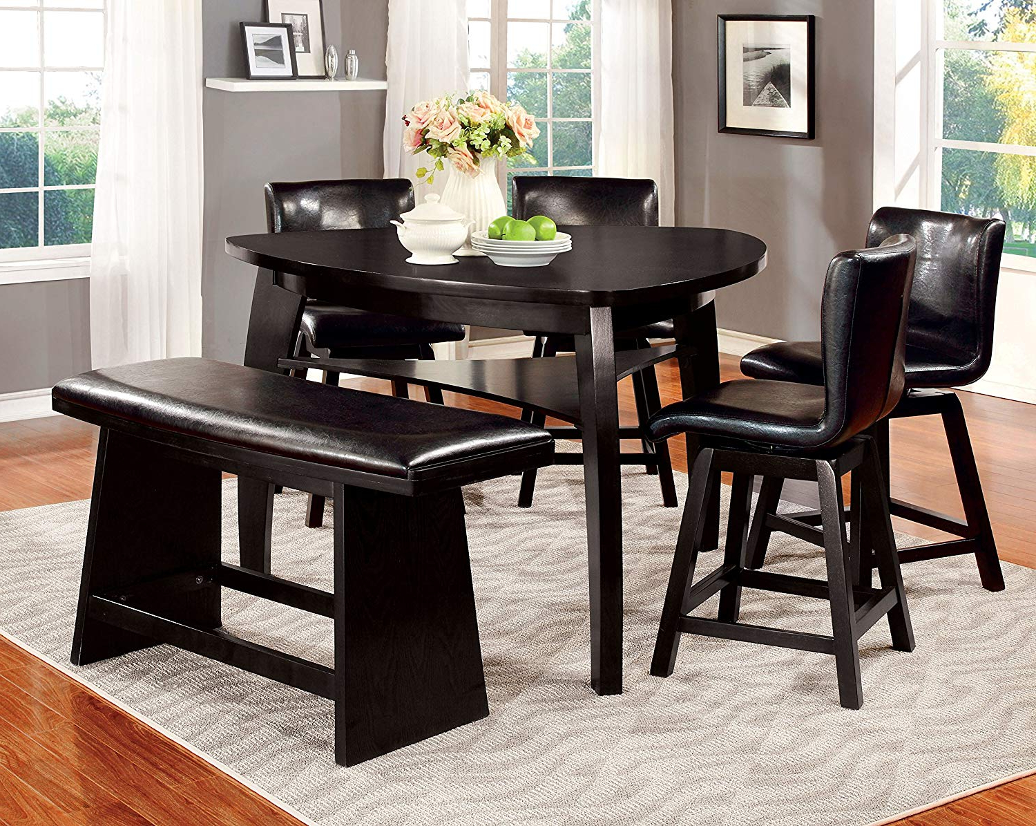 Amir 5 Piece Solid Wood Dining Sets (set Of 5) Intended For Trendy Furniture Of America Morley Pub Dining Table, Black (Gallery 14 of 20)