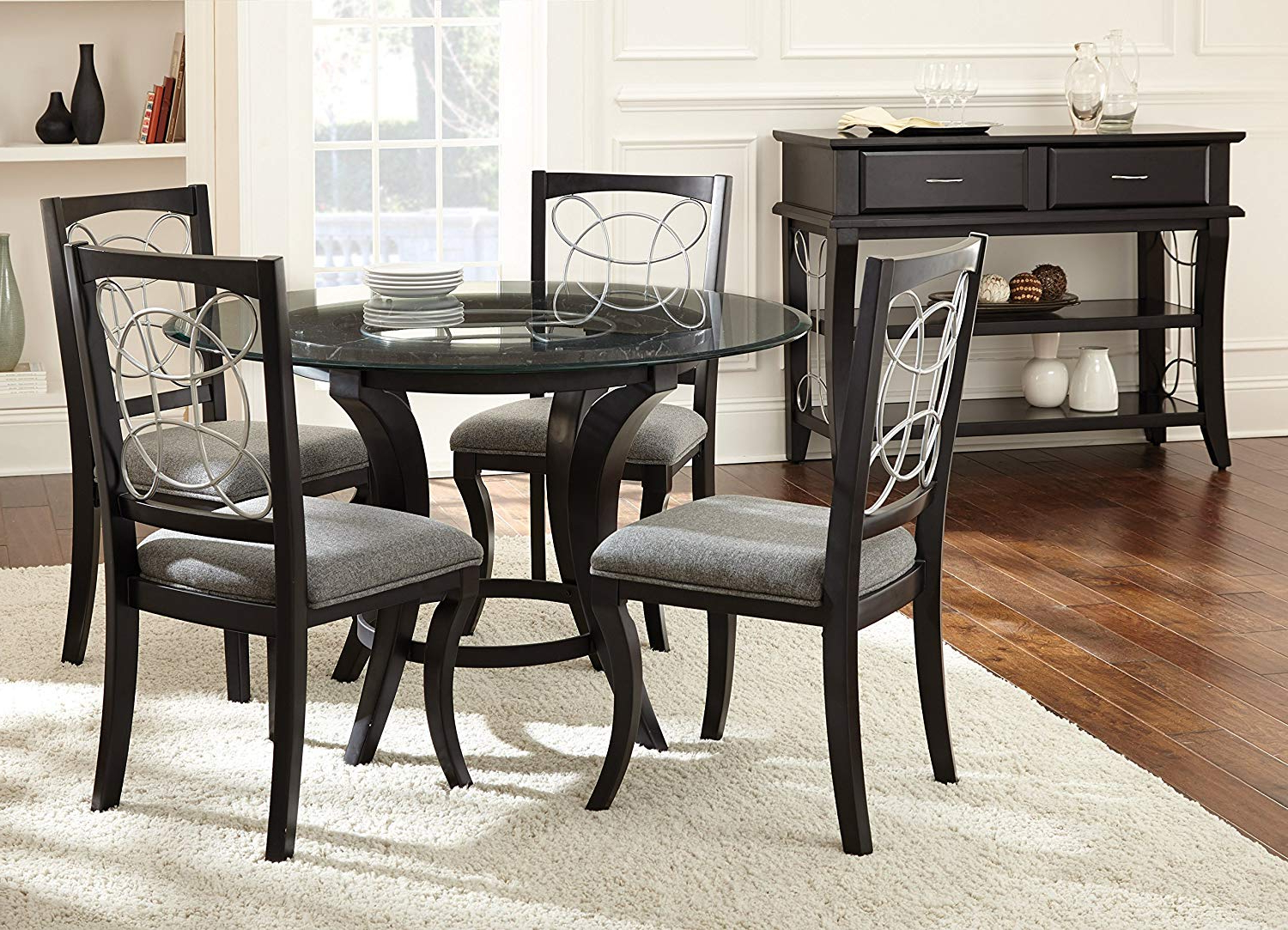 """Amir 5 Piece Solid Wood Dining Sets (Set Of 5) Throughout Most Recent Steve Silver Company Cy480Tb Cayman Dining Table, 48"""" X 48"""" X 30"""" (View 8 of 20)"""