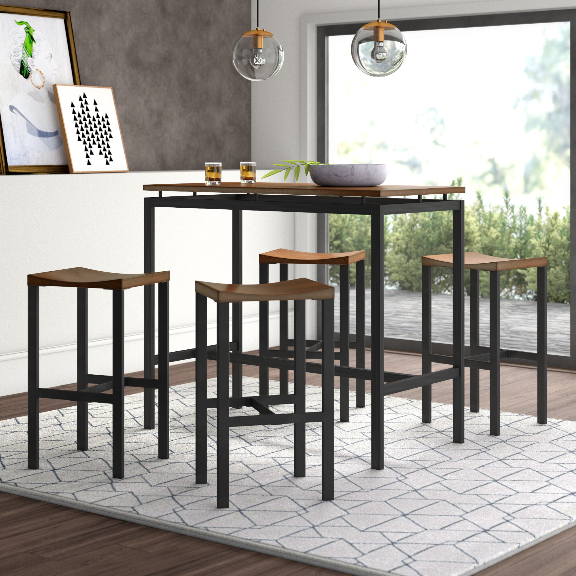 Anette 3 Piece Counter Height Dining Sets Intended For Well Liked Mcgonigal 5 Piece Pub Table Set (View 13 of 20)