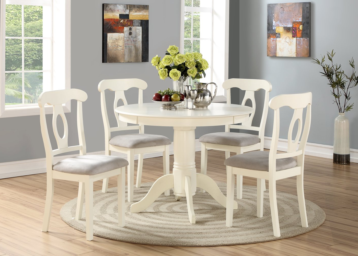 Angel Line 23511 21 5 Piece Lindsey Dining Set, White/gray In Favorite 5 Piece Dining Sets (View 19 of 20)