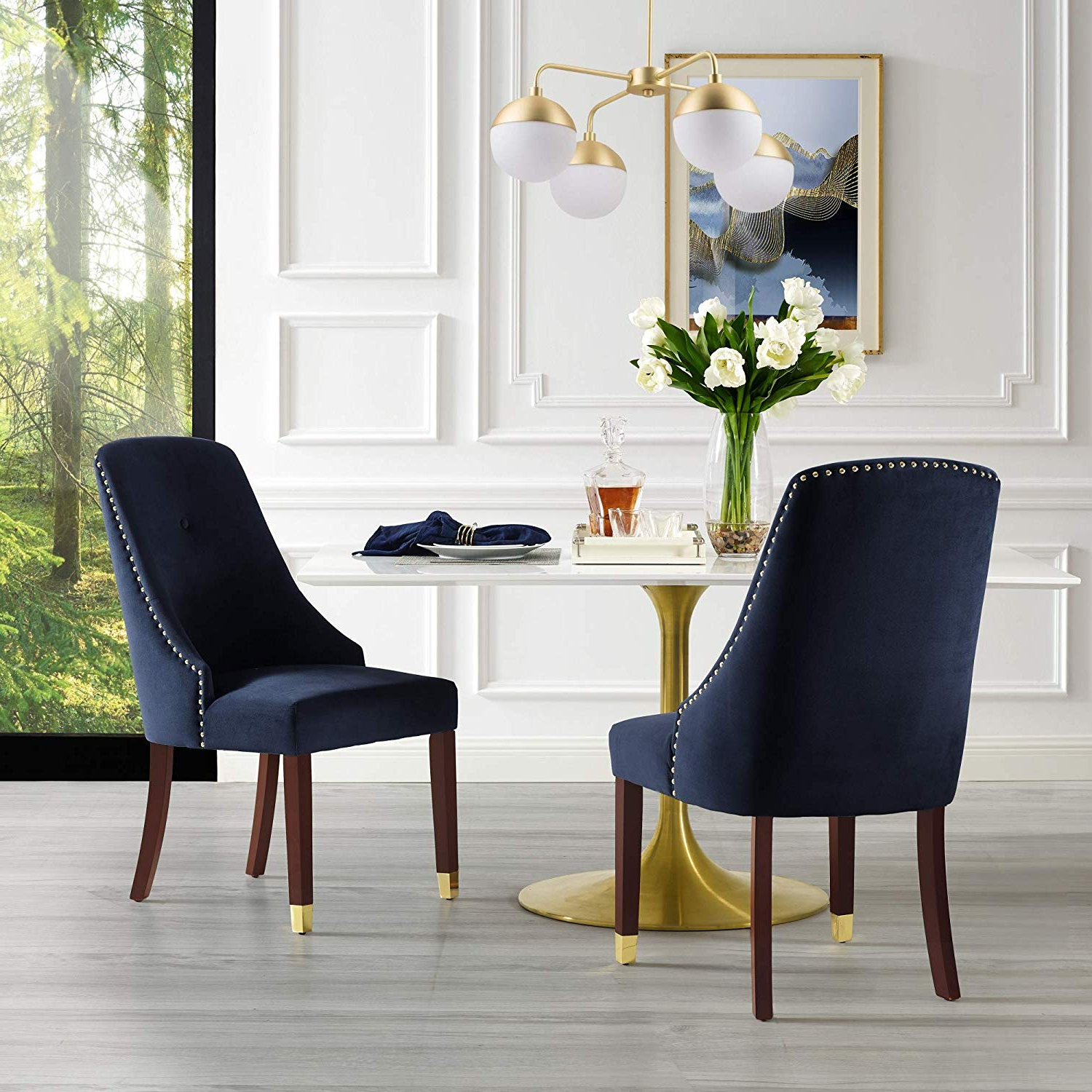 Aria 5 Piece Dining Sets Intended For 2017 Amazon – Inspiredhome Navy Velvet Dining Chair – Design: Aria (View 1 of 20)
