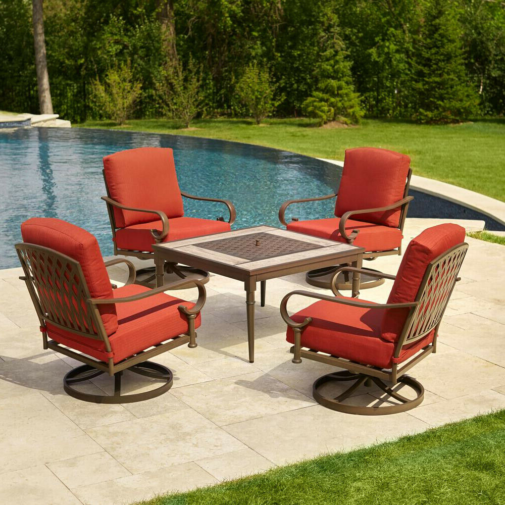 Aria 5 Piece Dining Sets Pertaining To 2018 Hampton Bay Oak 5 Piece Metal Patio Fire Pit Conversation Set Chili Cushions (View 7 of 20)