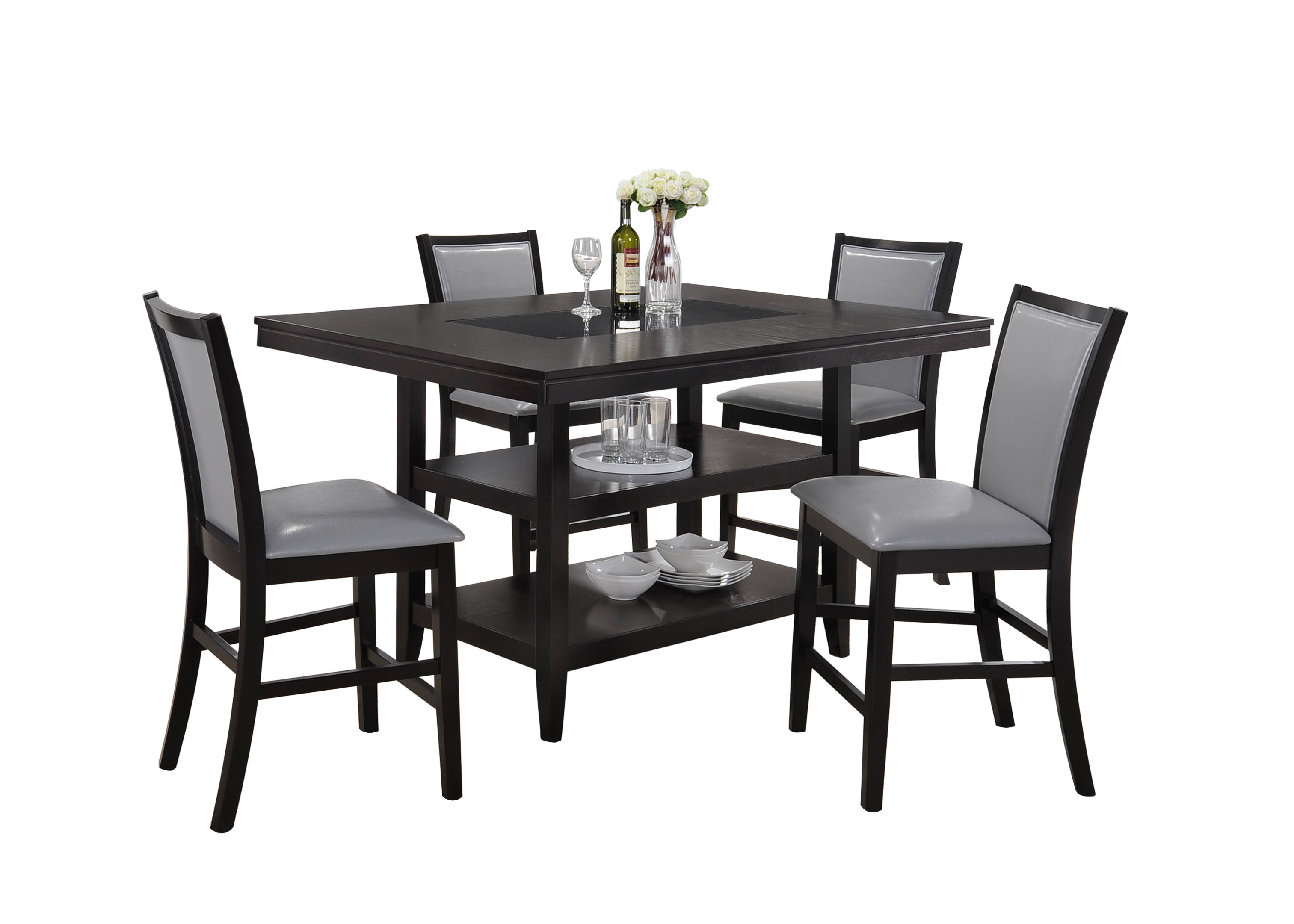 Ashton 5 Piece Dining Set With Regard To Widely Used Goodman 5 Piece Solid Wood Dining Sets (Set Of 5) (View 1 of 20)