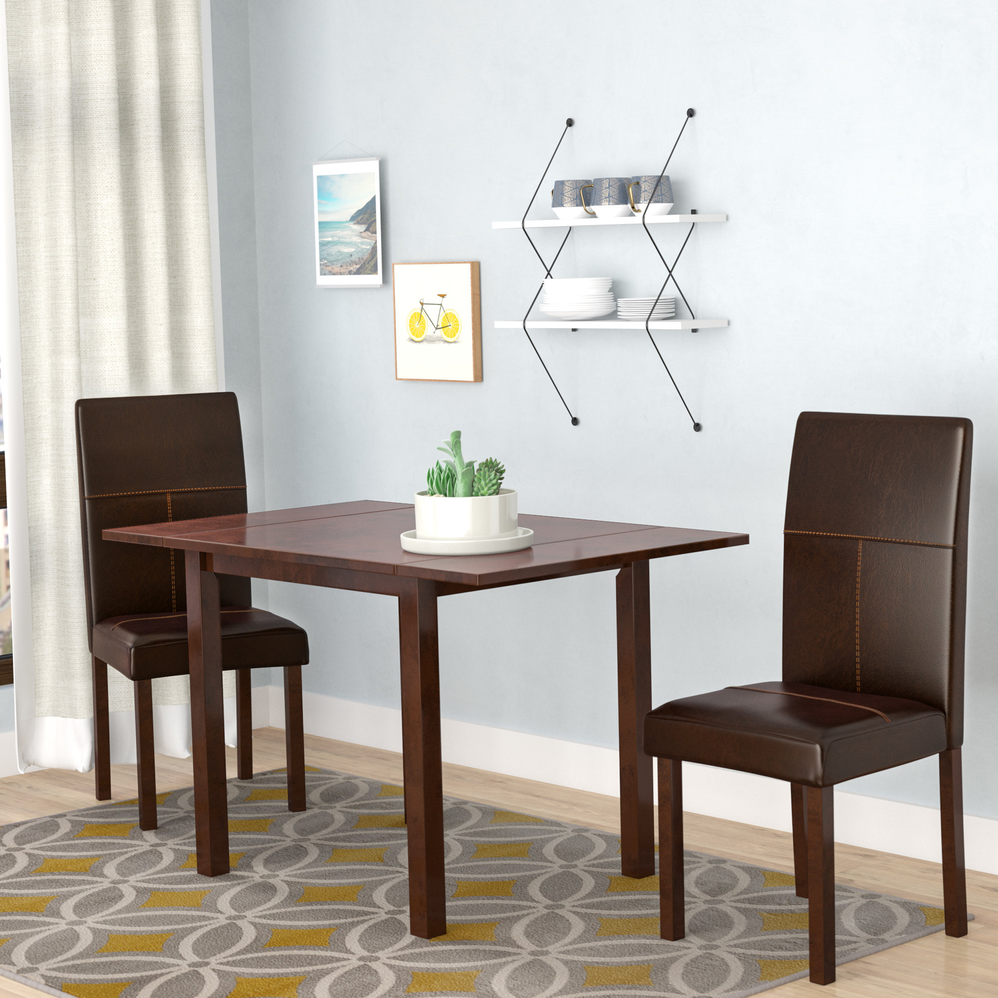 Baillie 3 Piece Dining Sets Pertaining To Well Known Lorenzen 3 Piece Dining Set (View 4 of 20)