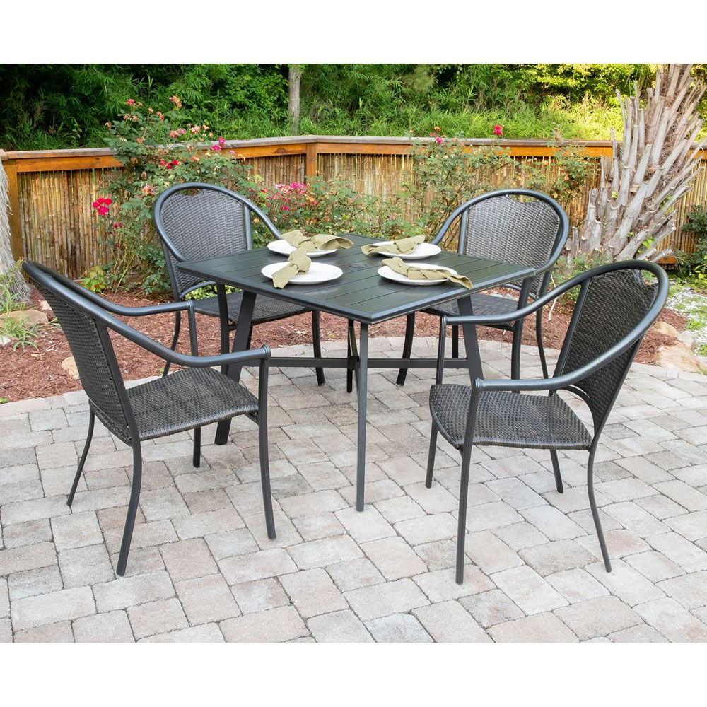 Bambray 5 Piece Commercial Grade All Weather Patio Set With 4 Woven Throughout Well Known Bearden 3 Piece Dining Sets (Gallery 16 of 20)
