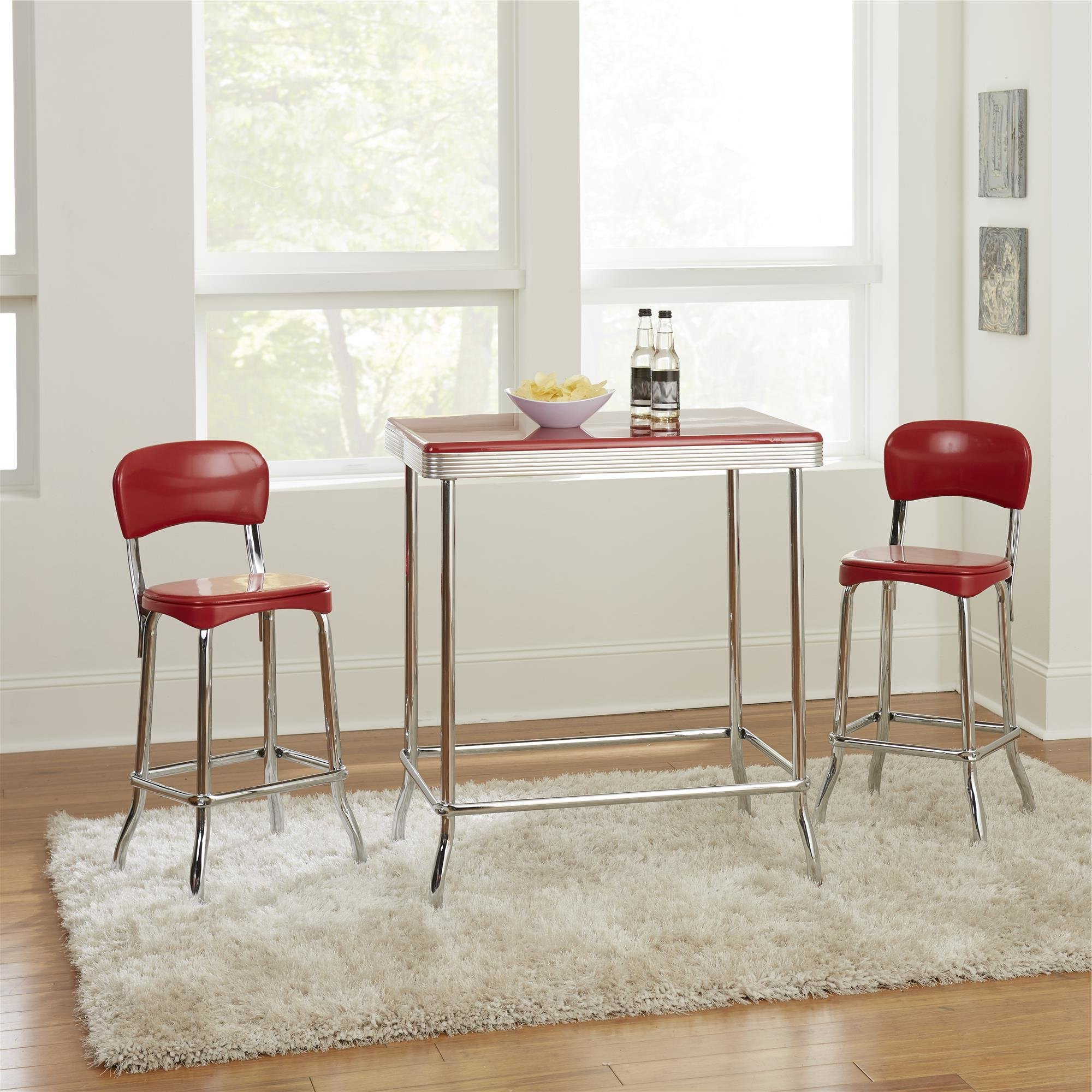 Bate Red Retro 3 Piece Dining Set In Fashionable Smyrna 3 Piece Dining Sets (Gallery 12 of 20)