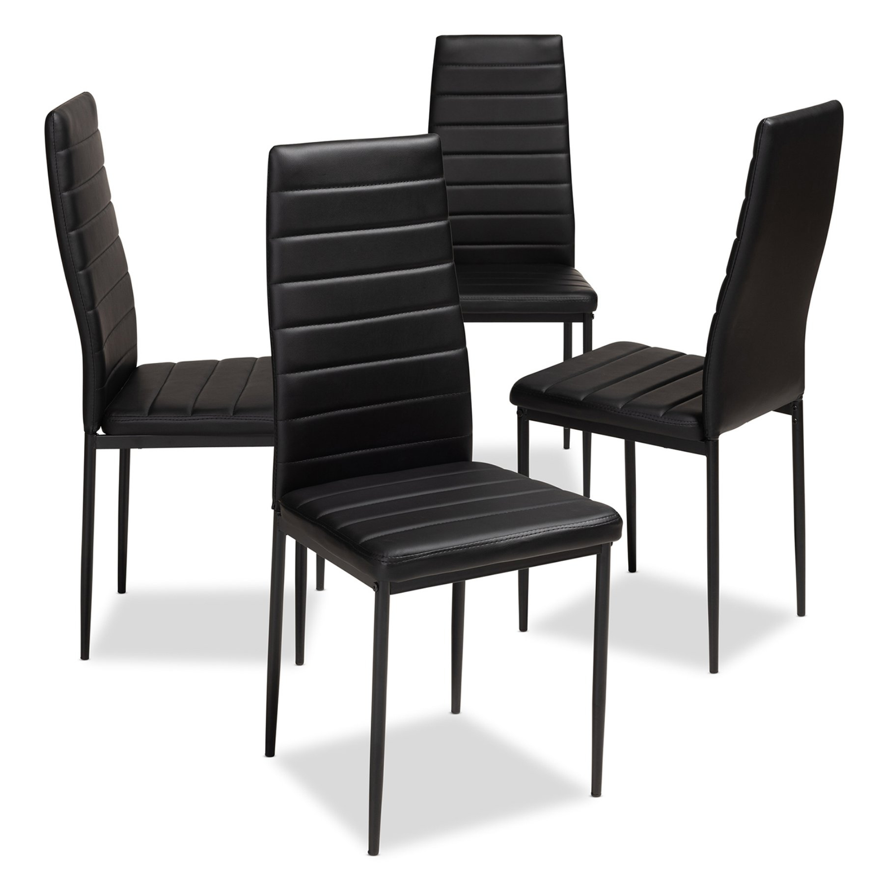 Baxton Studio Armand Faux Leather High Back Dining Side Chair – Set Inside Recent Wiggs 5 Piece Dining Sets (View 9 of 20)