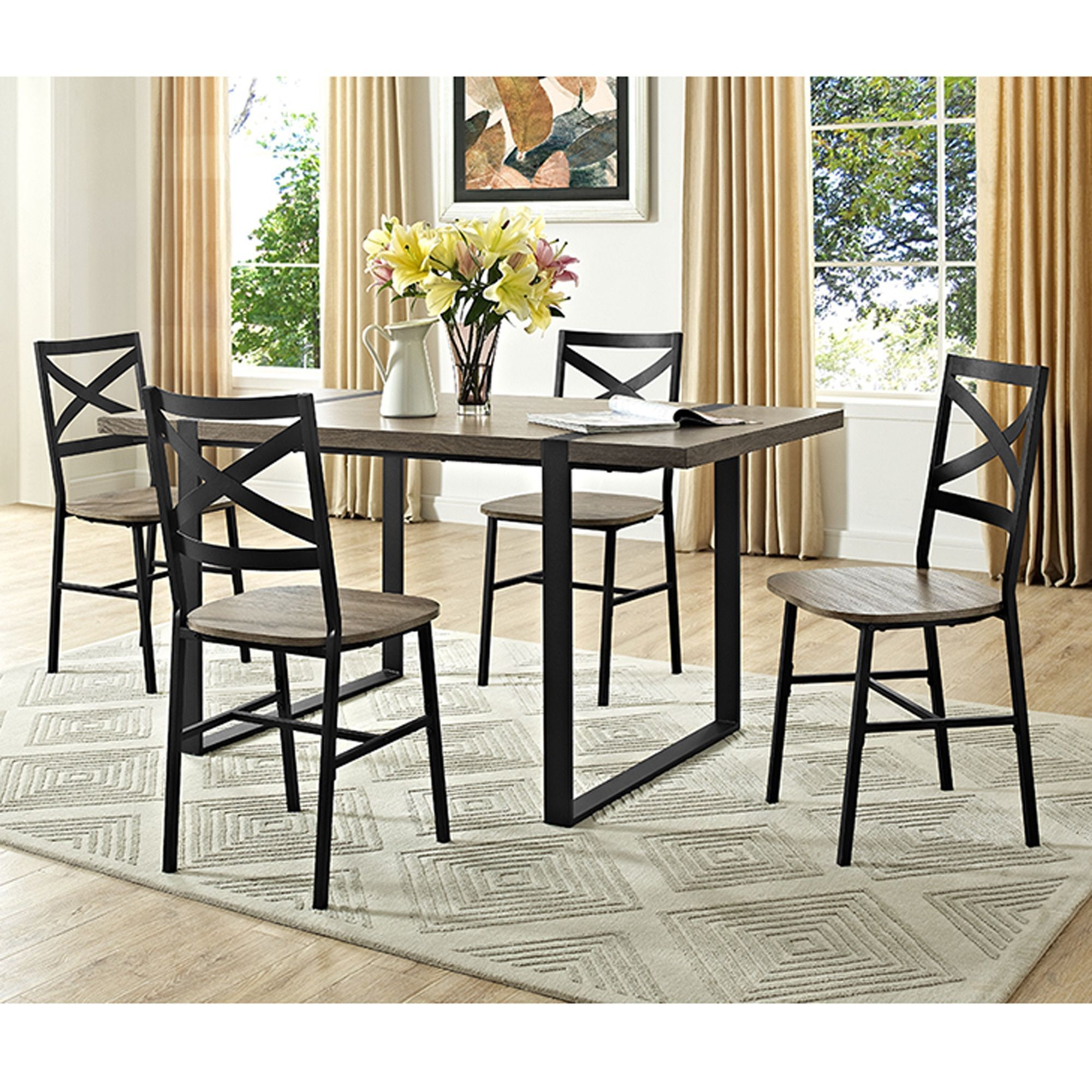 "Bearden 3 Piece Dining Sets Pertaining To Recent 60"" Urban Blend Wood Dining Table – Driftwood – Grey (60"" Urban (Gallery 10 of 20)"
