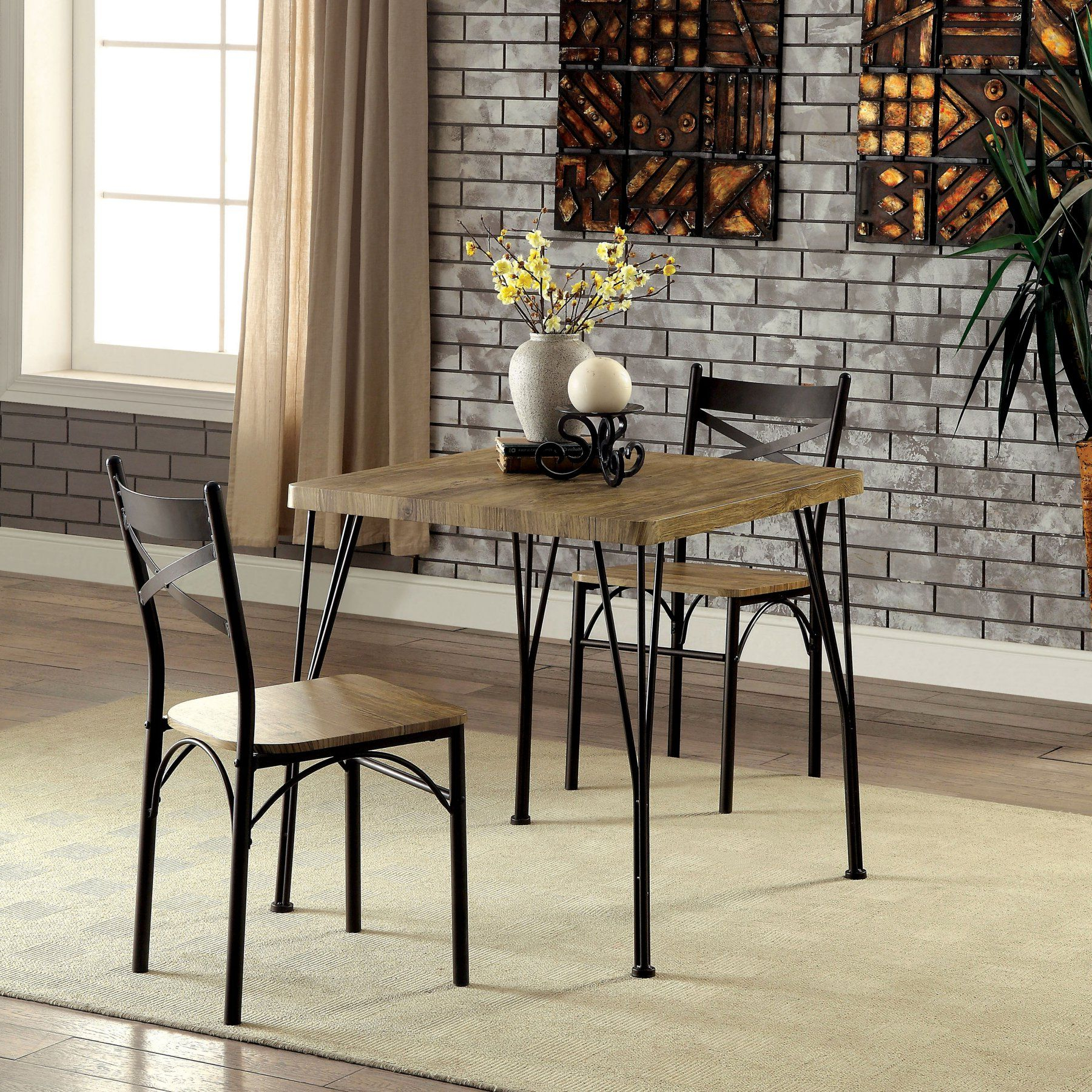 Bearden 3 Piece Dining Sets Pertaining To Trendy Furniture Of America Amonica Industrial Style 3 Piece Casual Dining (View 7 of 20)