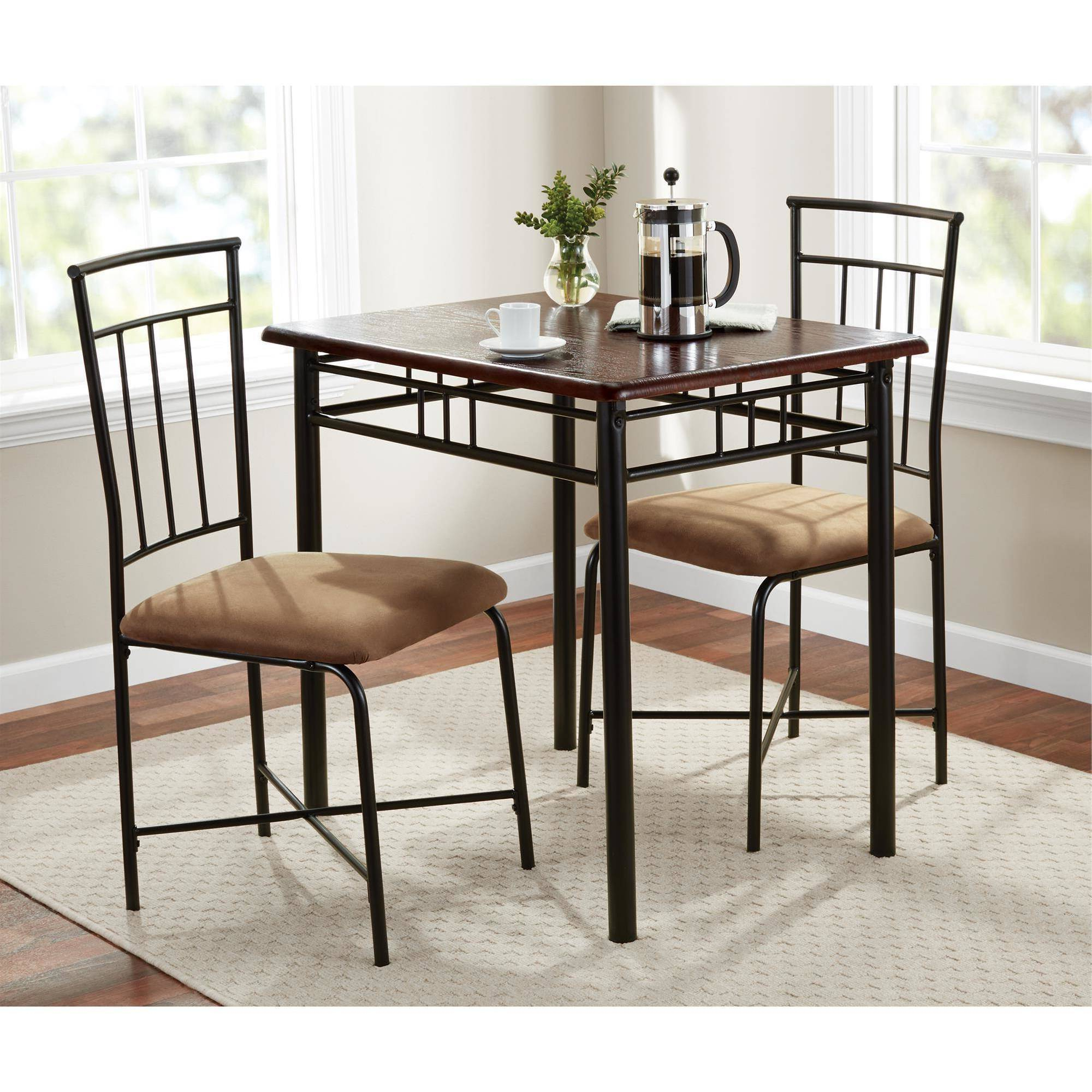 Bearden 3 Piece Dining Sets Regarding Well Liked Mainstays 3 Piece Dining Set, Wood And Metal (Gallery 15 of 20)