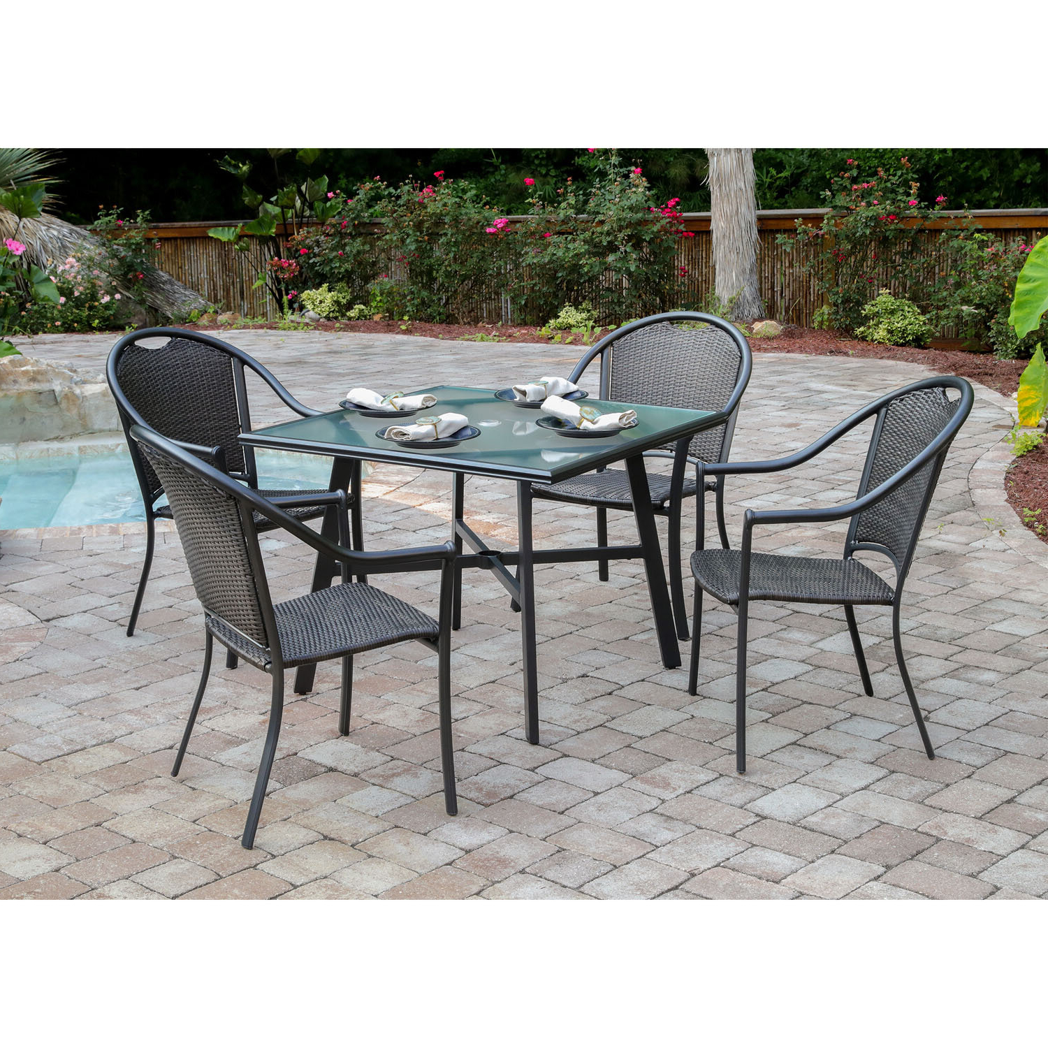 Bearden 5 Piece Commercial Grade Patio Set With 4 Woven Dining Chairs And A  38 In. Glass Top Dining Table Within Best And Newest Bearden 3 Piece Dining Sets (Gallery 19 of 20)