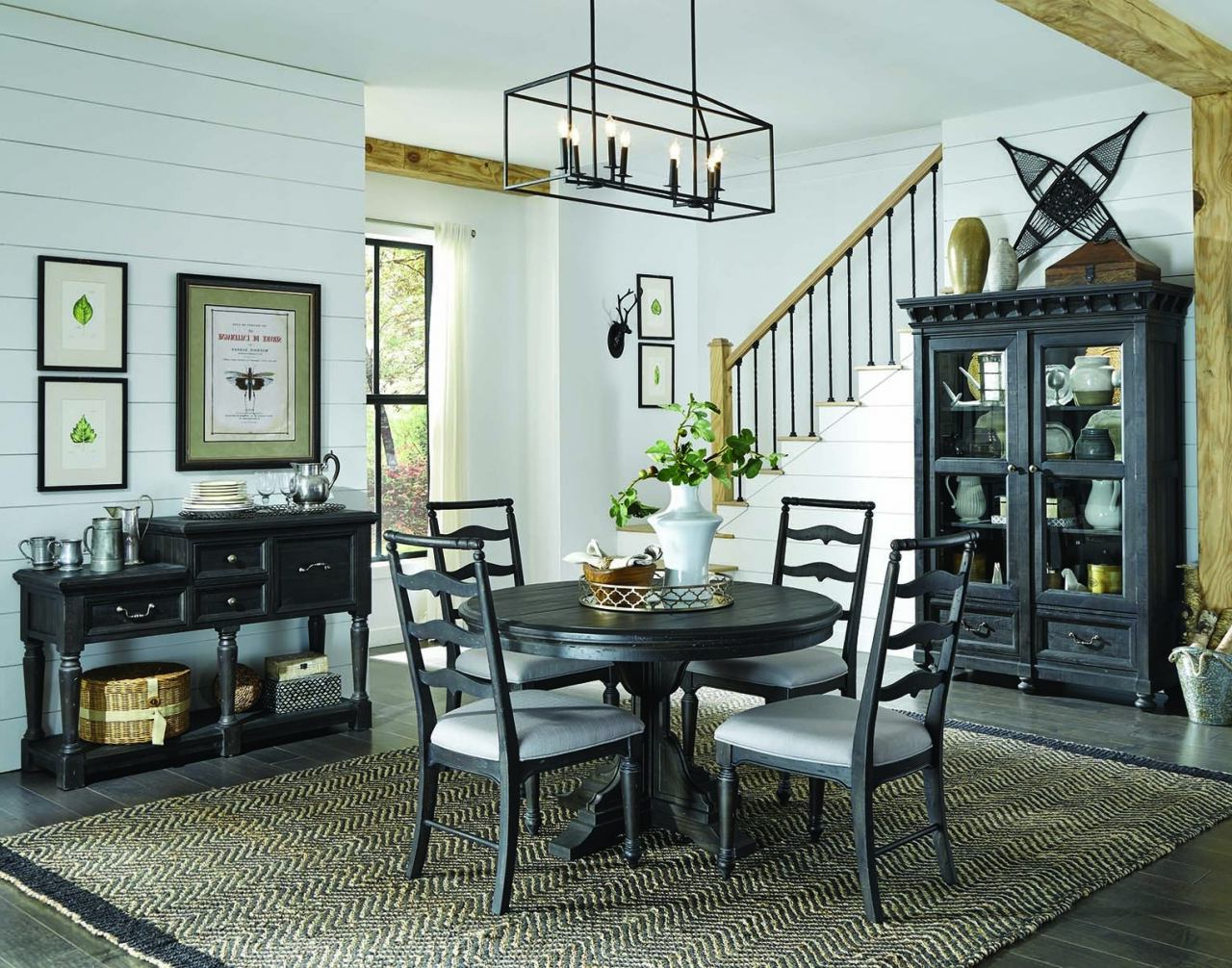 Bedfo 3 Piece Dining Sets With Widely Used Magnussen Furniture Bedford Corners 5pc Round Dining Set In Anvil Black (View 10 of 20)
