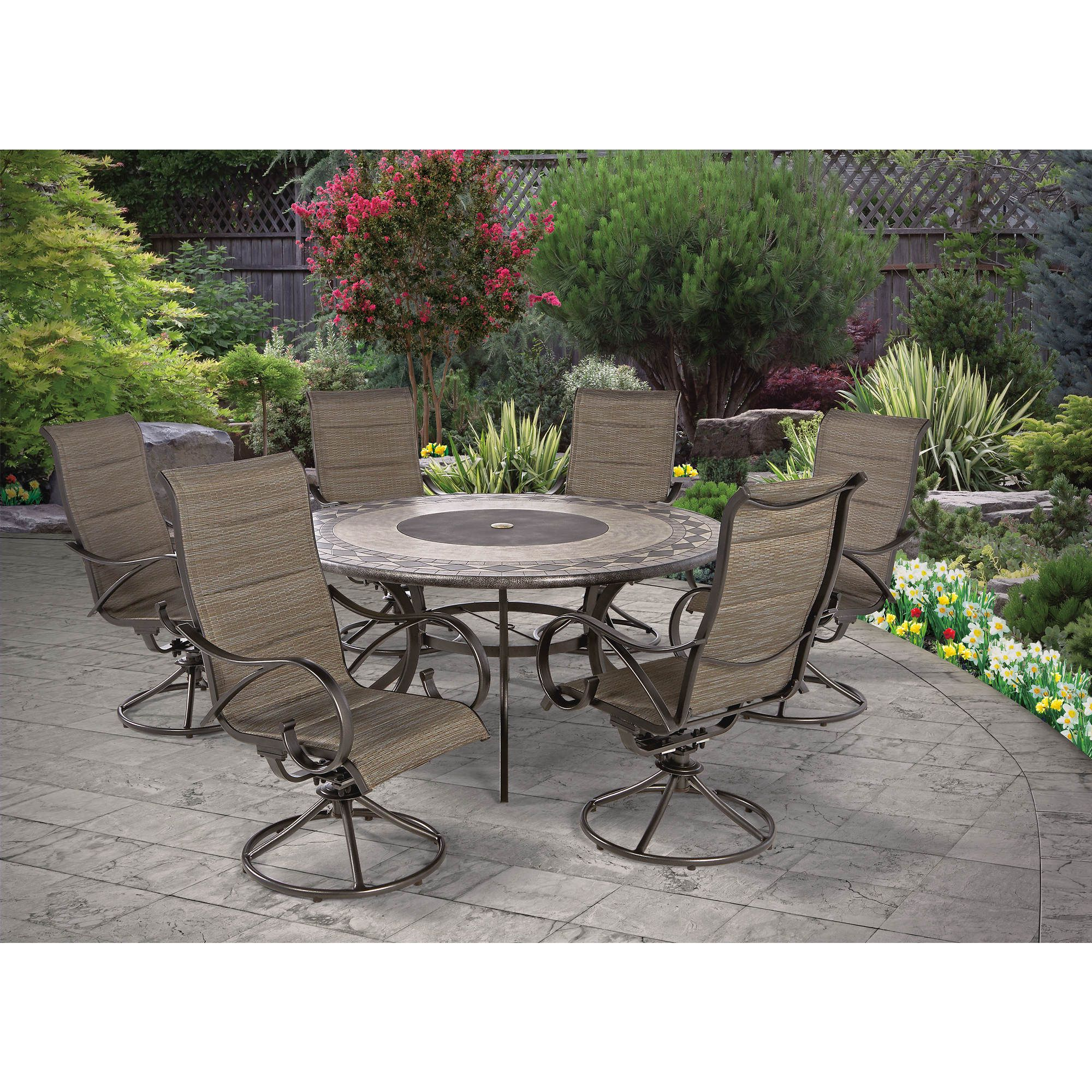 Berkley Jensen Seaport 7 Pc. Padded Sling Dining Set – Bjs Wholesale Intended For Most Current Rossi 5 Piece Dining Sets (Gallery 13 of 20)
