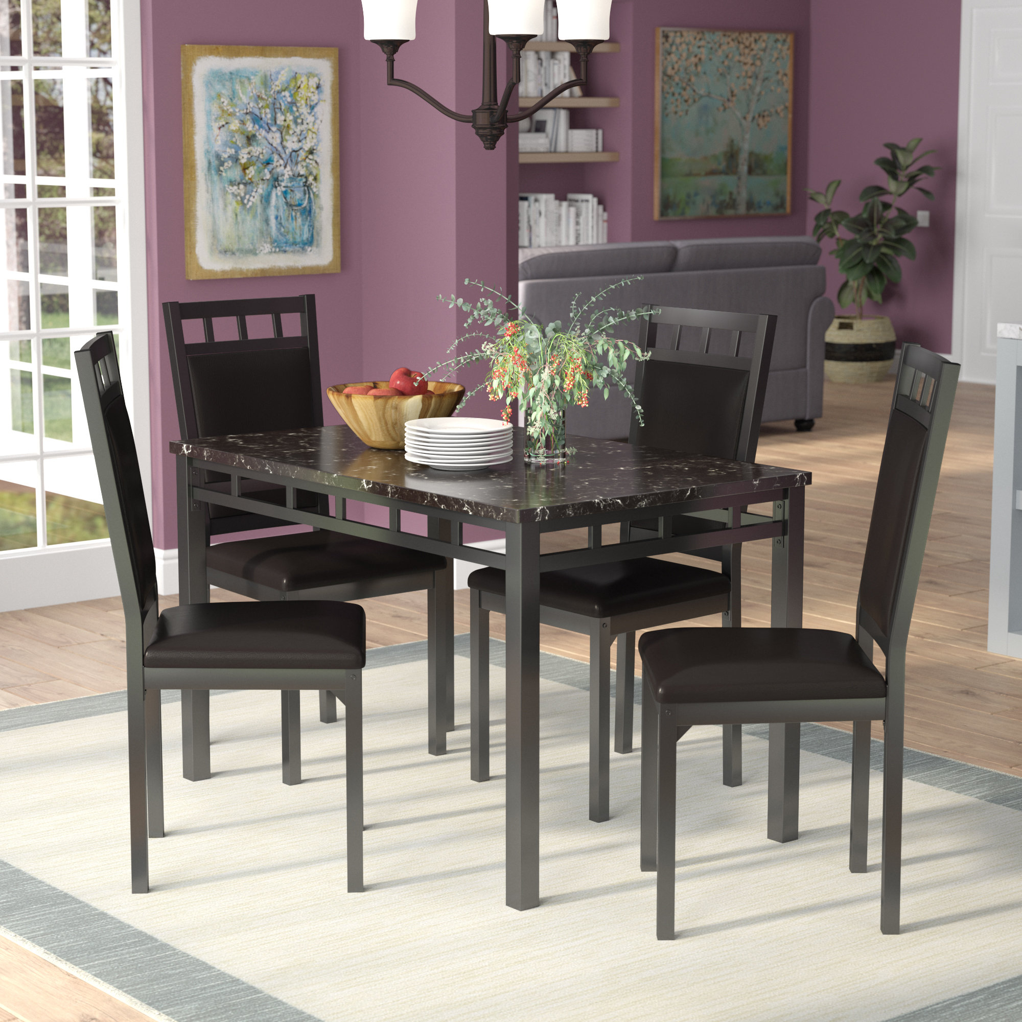 Bernice 5 Piece Dining Set With Well Known Maynard 5 Piece Dining Sets (Gallery 3 of 20)