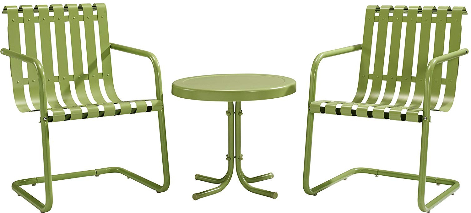 Best And Newest Bate Red Retro 3 Piece Dining Sets Pertaining To Crosley Furniture Gracie 3 Piece Retro Metal Outdoor Conversation Set With  Side Table And 2 Chairs – Oasis Green (Gallery 11 of 20)