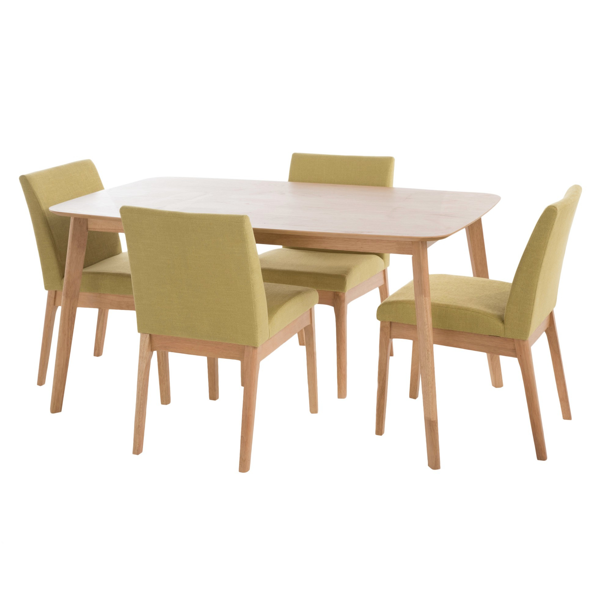 Best And Newest Kwame 60 5 – Piece Dining Set – Natural Oak/green Tea – Christopher For Telauges 5 Piece Dining Sets (View 13 of 20)