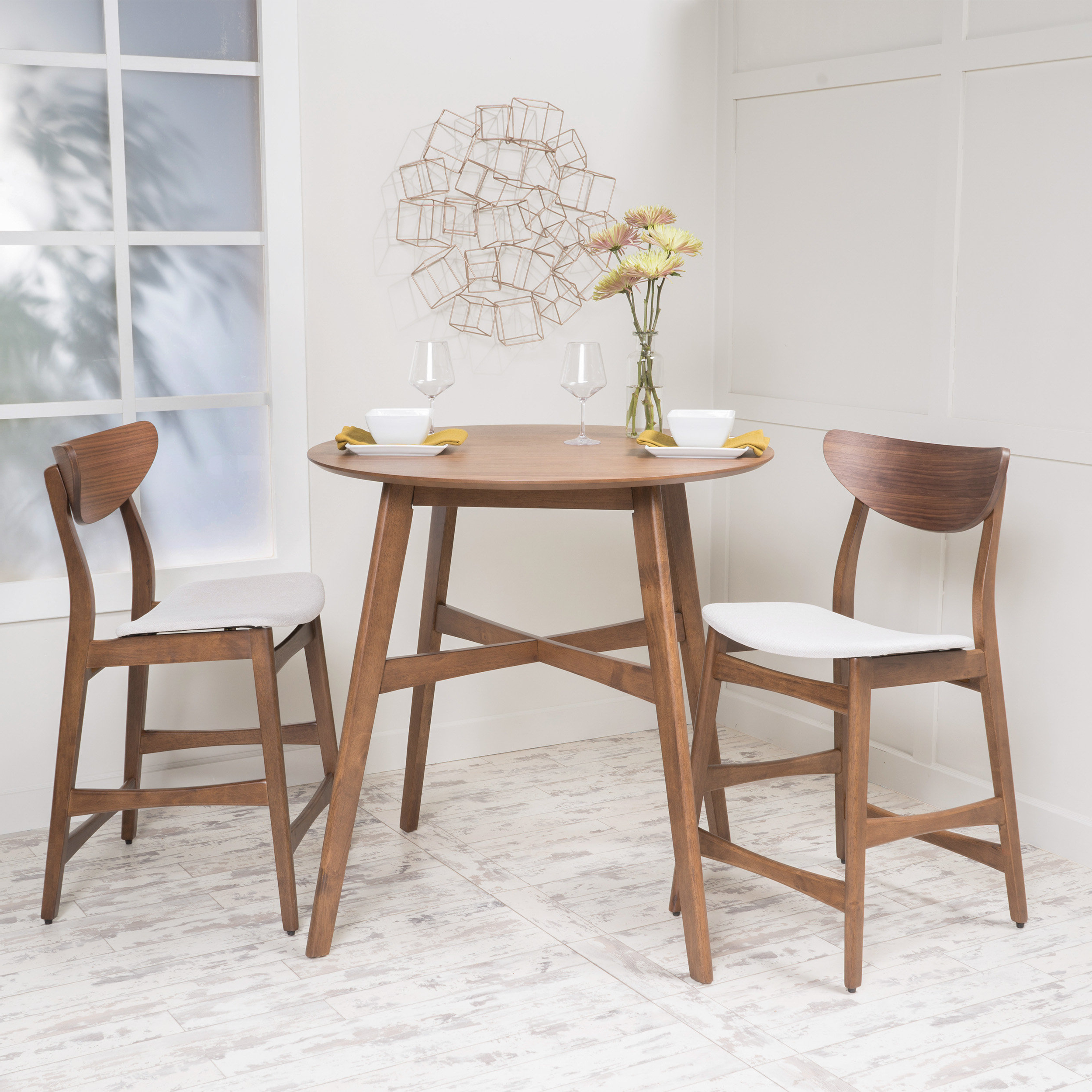 Best And Newest Moorehead 3 Piece Counter Height Dining Sets Intended For Santa Cruz 3 Piece Counter Height Dining Set (View 3 of 20)