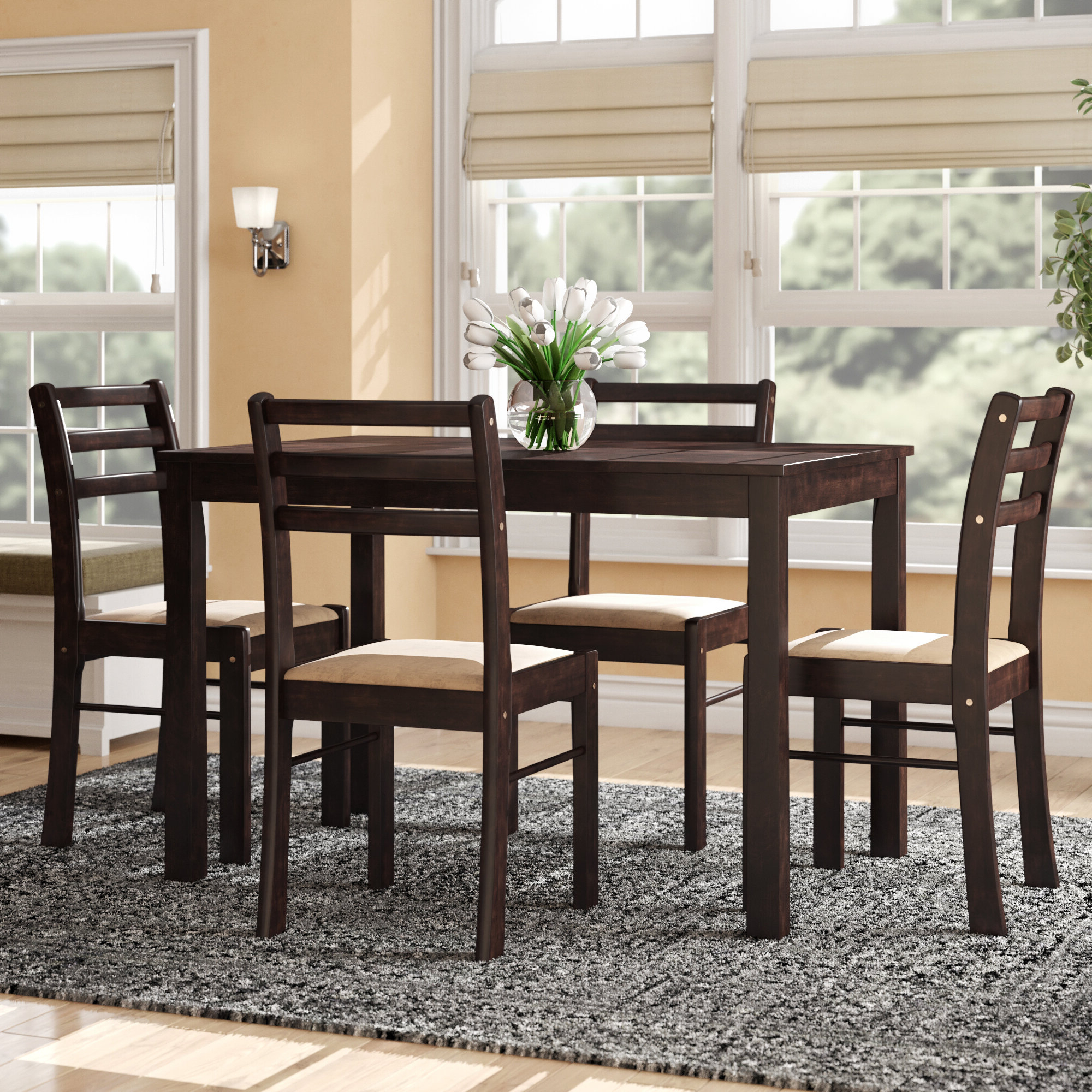Best And Newest Portal 5 Piece Dining Set With Hanska Wooden 5 Piece Counter Height Dining Table Sets (set Of 5) (Gallery 8 of 20)