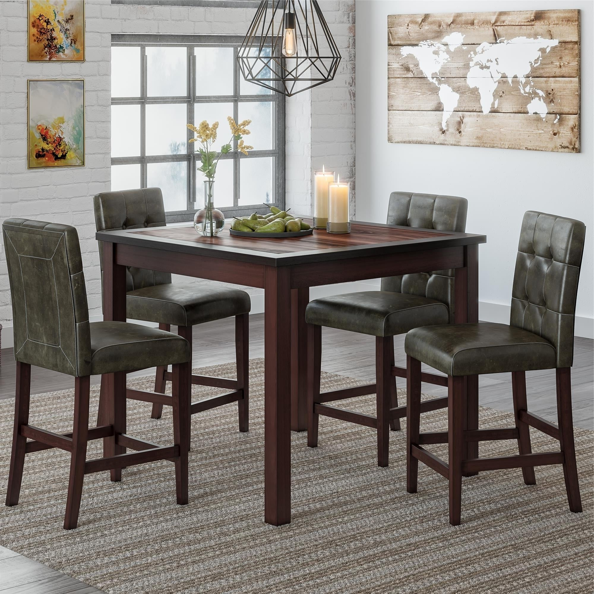 Bettencourt 3 Piece Counter Height Dining Sets With Regard To Well Known Gracewood Hollow Betancourt Espresso 5 Piece Counter Height Dining Set (Gallery 18 of 20)