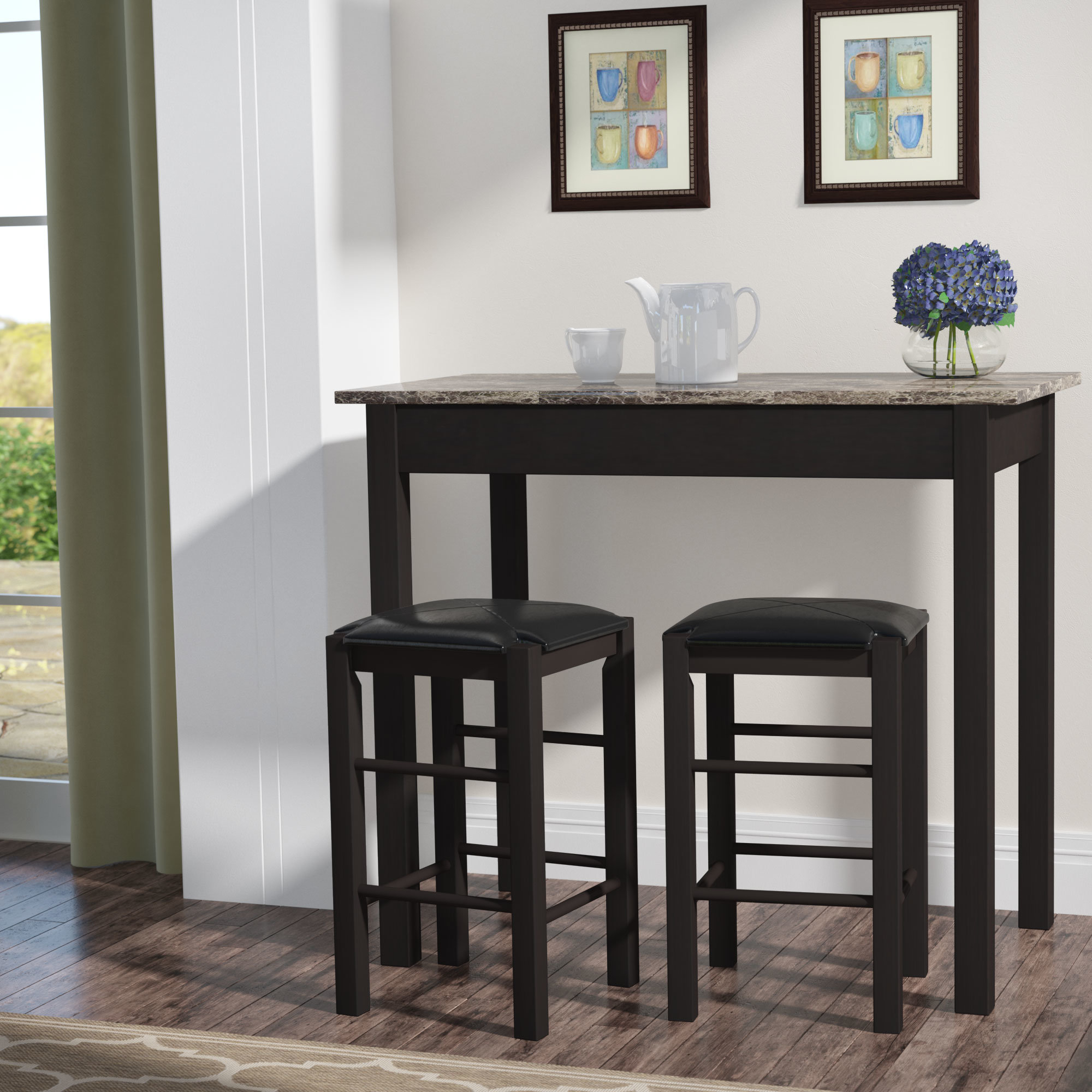 Bettencourt 3 Piece Counter Height Solid Wood Dining Sets Pertaining To 2017 Sheetz 3 Piece Counter Height Dining Set (View 4 of 20)