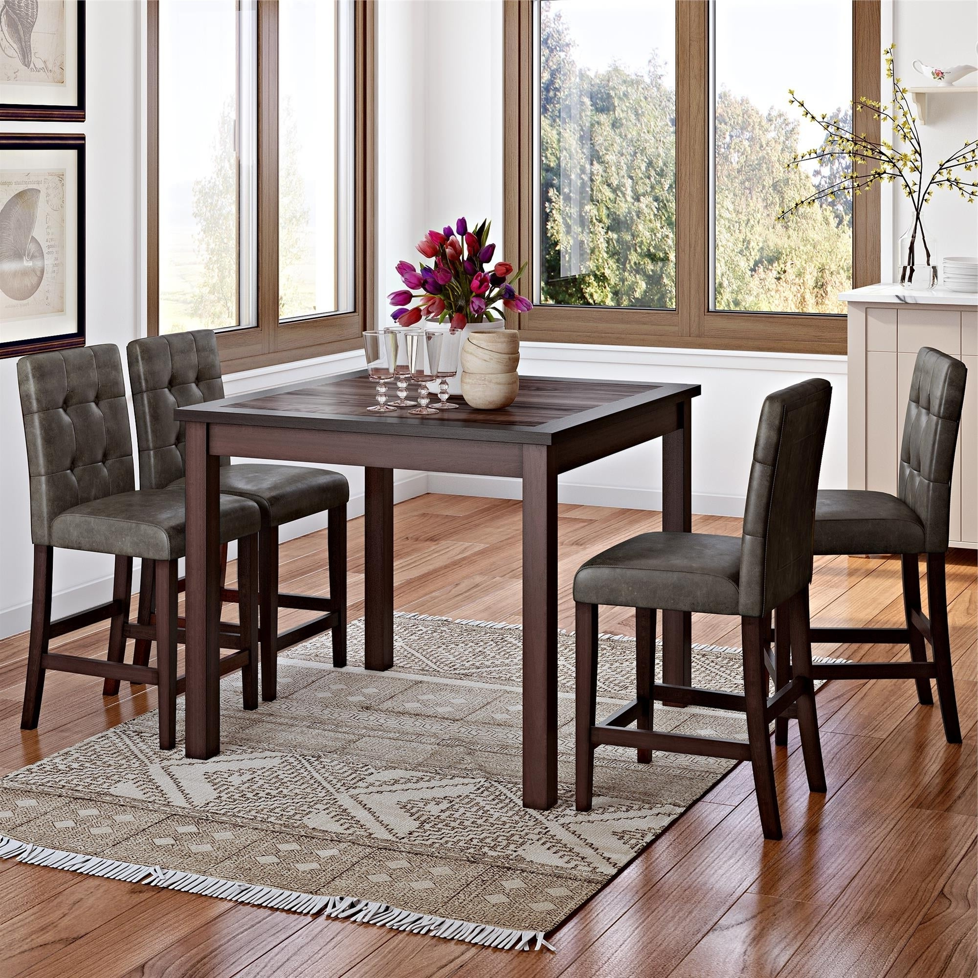 Bettencourt 3 Piece Counter Height Solid Wood Dining Sets Regarding Preferred Gracewood Hollow Betancourt Espresso 5 Piece Counter Height Dining Set (View 6 of 20)