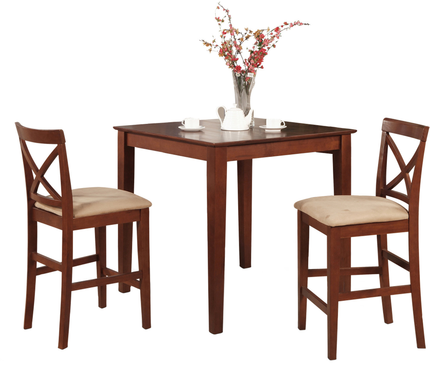 Bettencourt 3 Piece Counter Height Solid Wood Dining Sets Throughout 2018 Pleasant View 3 Piece Counter Height Bistro Set (View 8 of 20)
