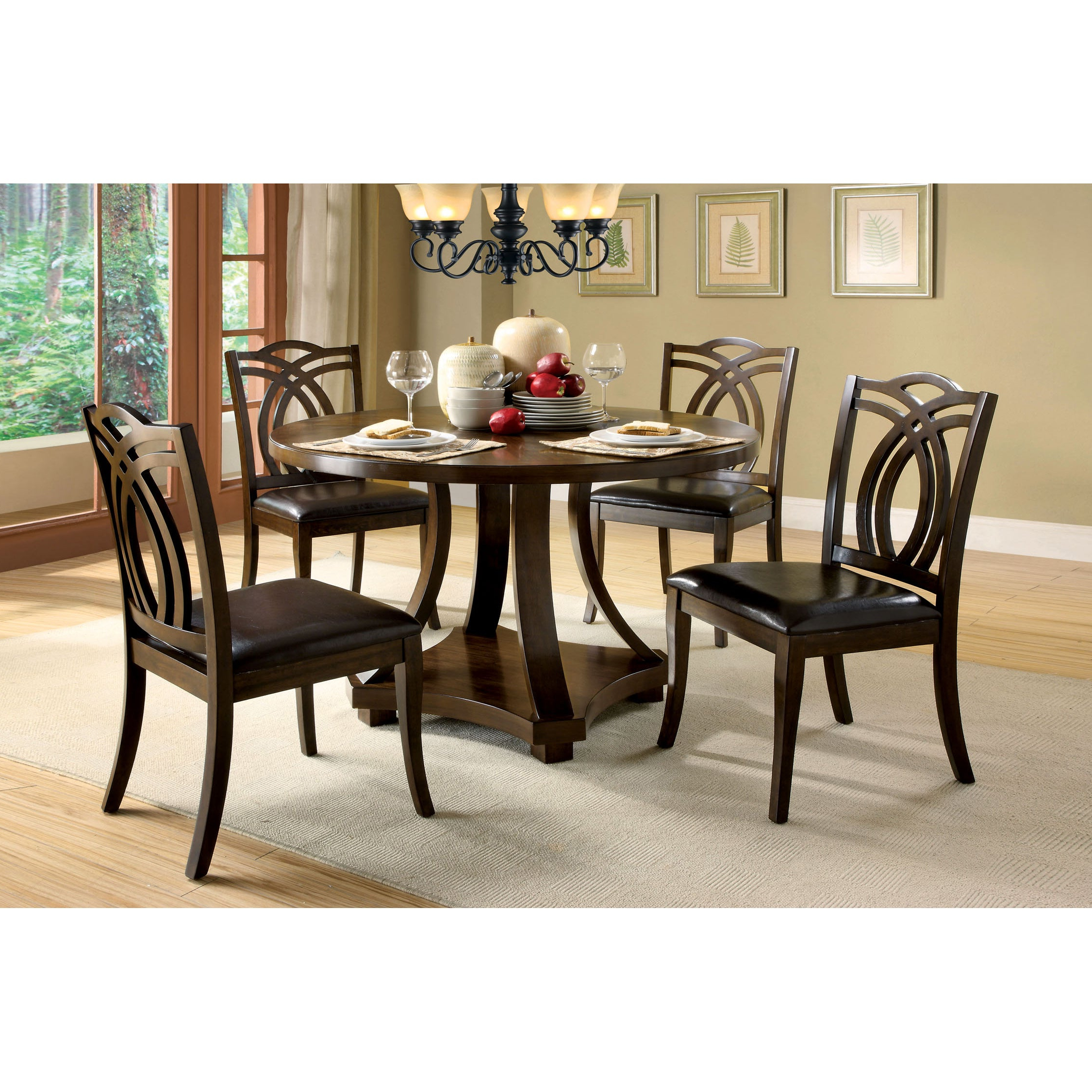Biggs 5 Piece Counter Height Solid Wood Dining Sets (Set Of 5) Intended For Most Popular Briggs Contemporary 48 Inch Dark Walnut Dining Tablefoa – Dark Walnut (View 8 of 20)